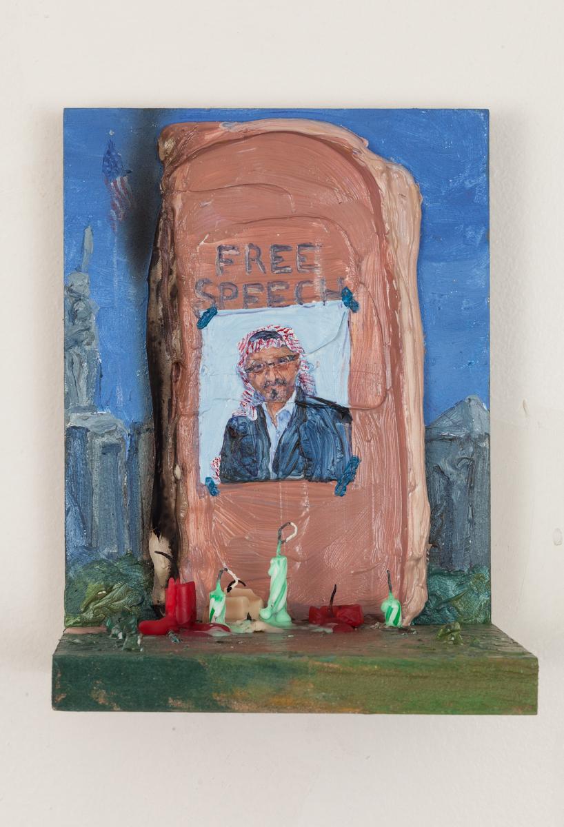 Jamal - Acrylic resin, caulk, pigment, and candles on wood shelf. 2018.