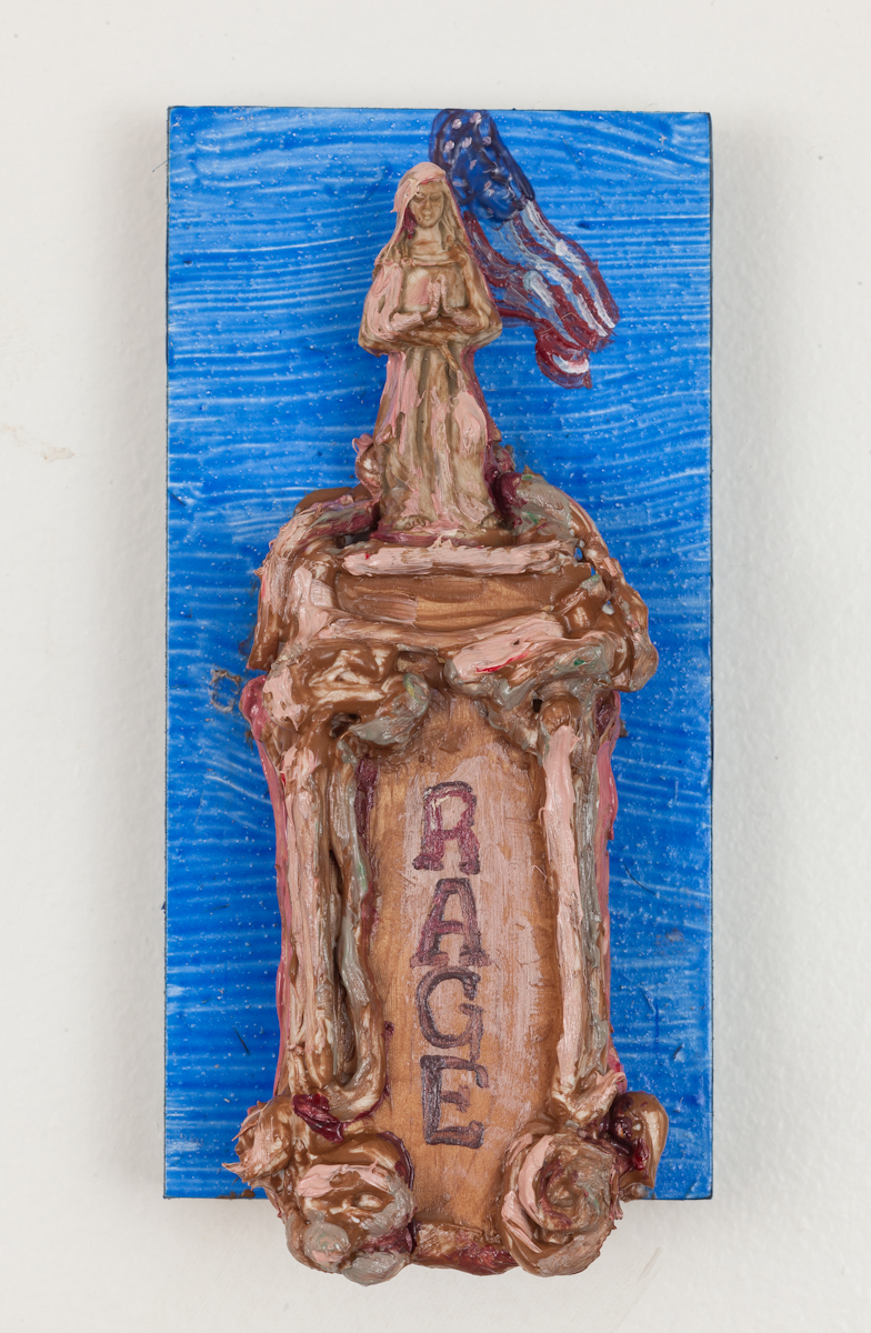 The state of things - Acrylic resin, caulk, pigment, and found statuette on wood board. 2018.