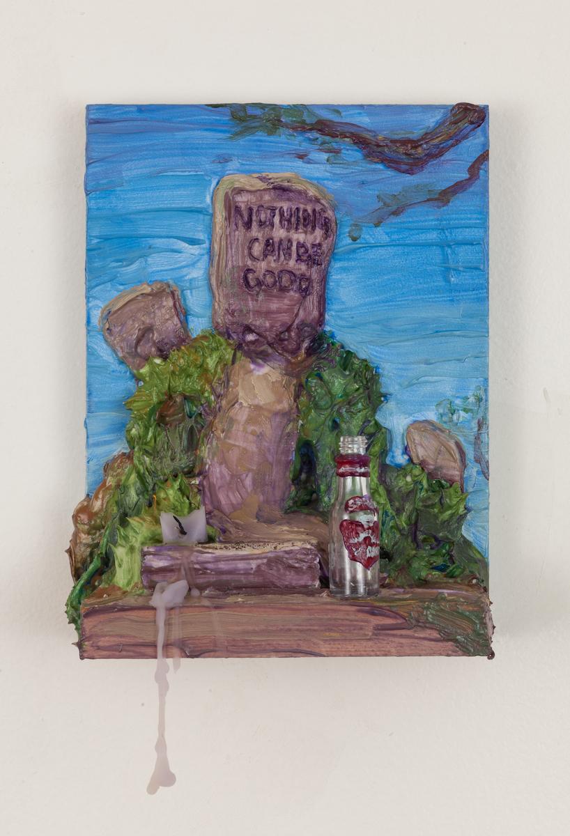 Peace - Acrylic resin, caulk, pigment, found bottle, and lavender votive candle on wood shelf. 2018.