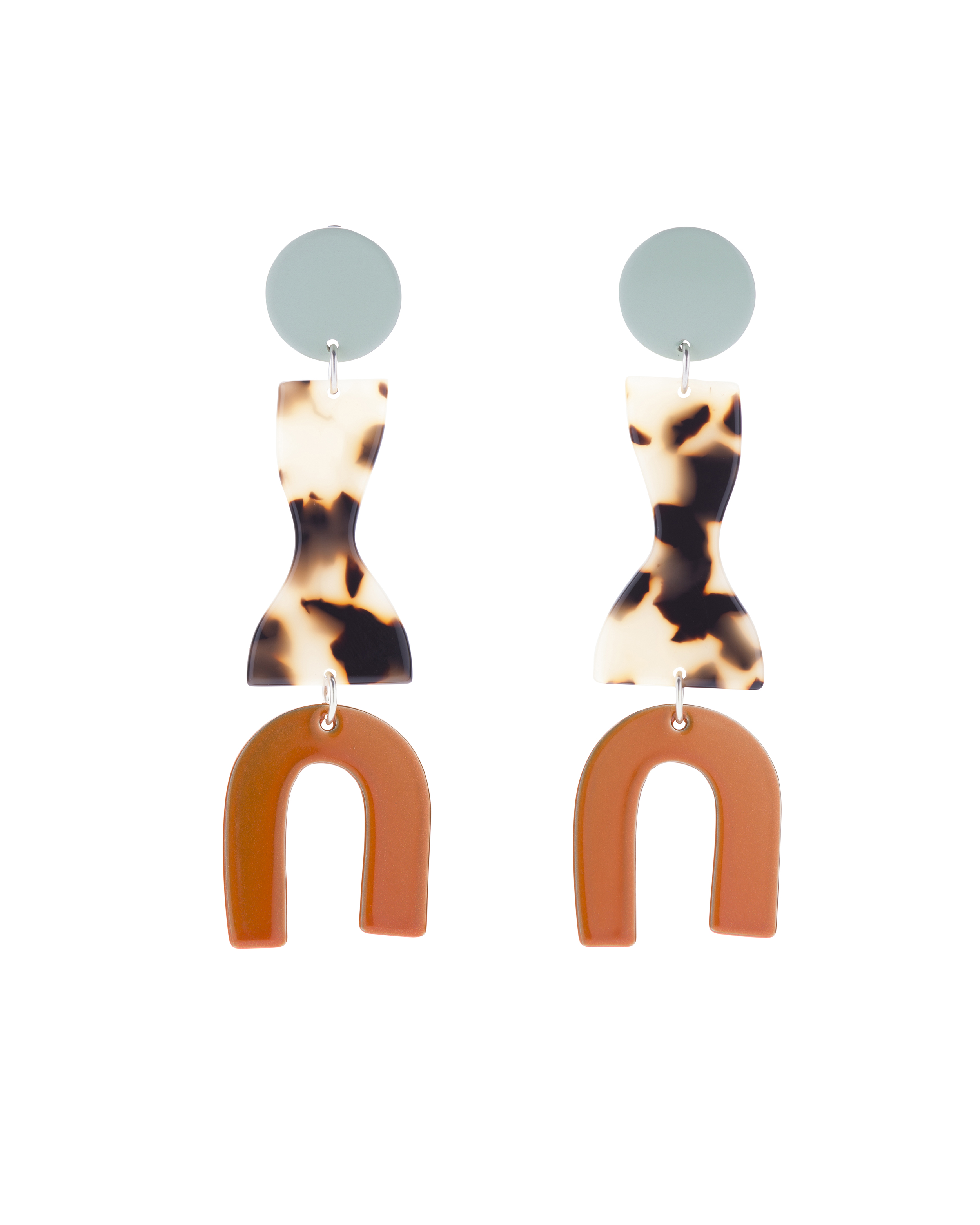 Energetic tortoise-shell colour ways. The  Roy Earrings in Mint