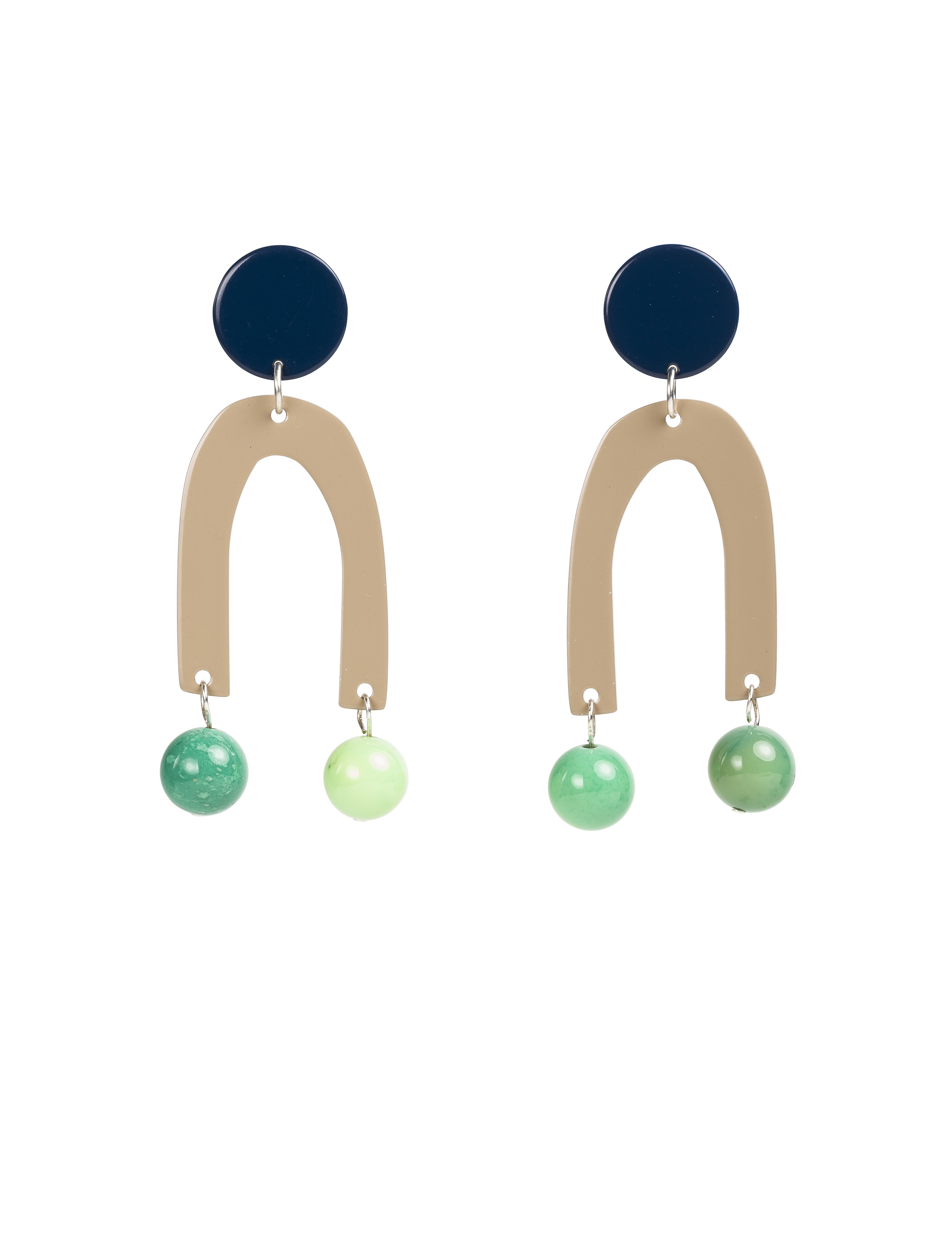 The Pendulum Earrings in Navy  - The Pendulum Earrings are full of beguiling movement! True to their name, floating agate balls sway from magnetic motifs. Navy and tan colour blocking brings colour to your style in an easy way.