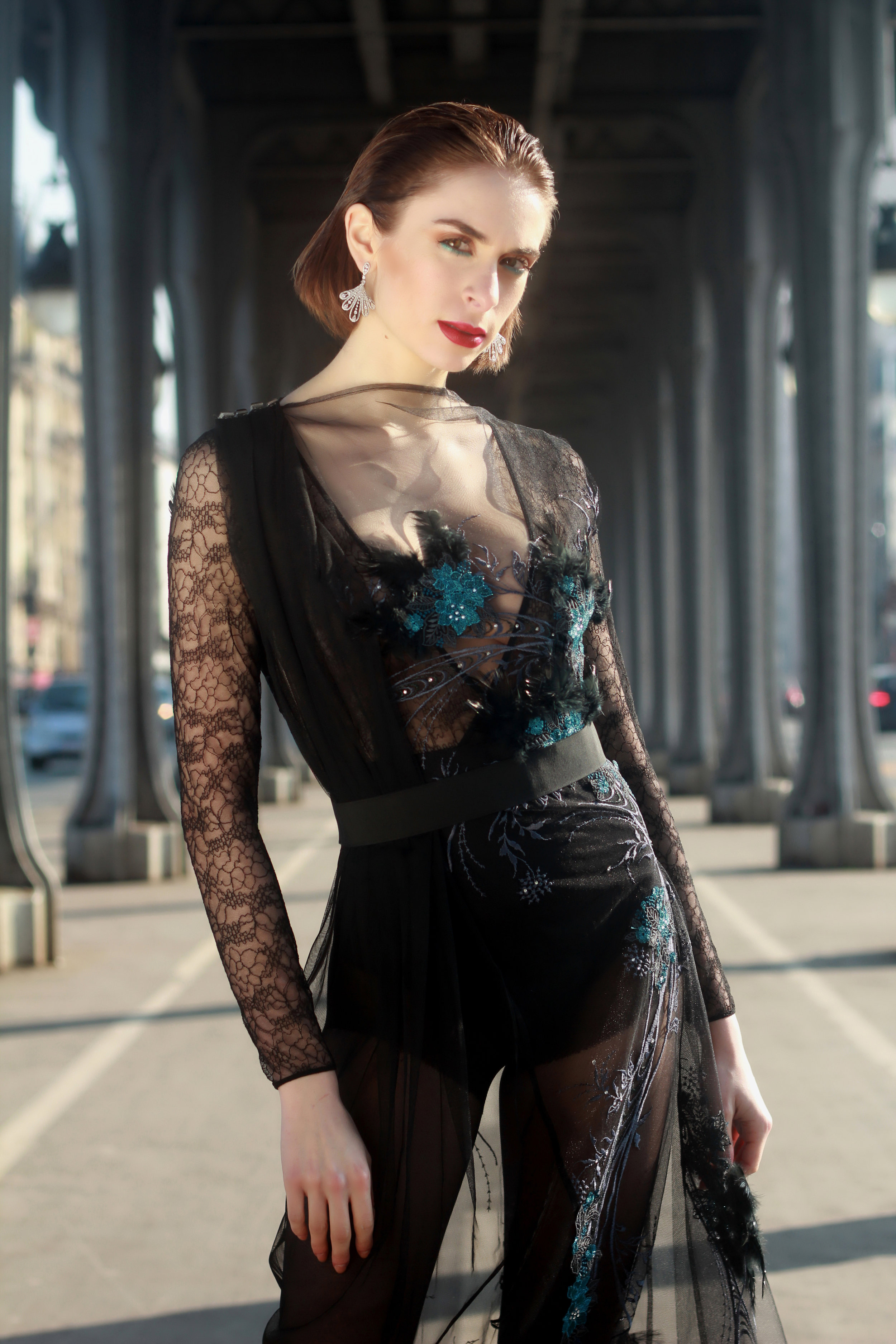 Dress : « The Pléonasme », Moira Cristescu  Earrings : Tophills (LAB created Diamond Jewelry)  Panty : Agent Provocateur
