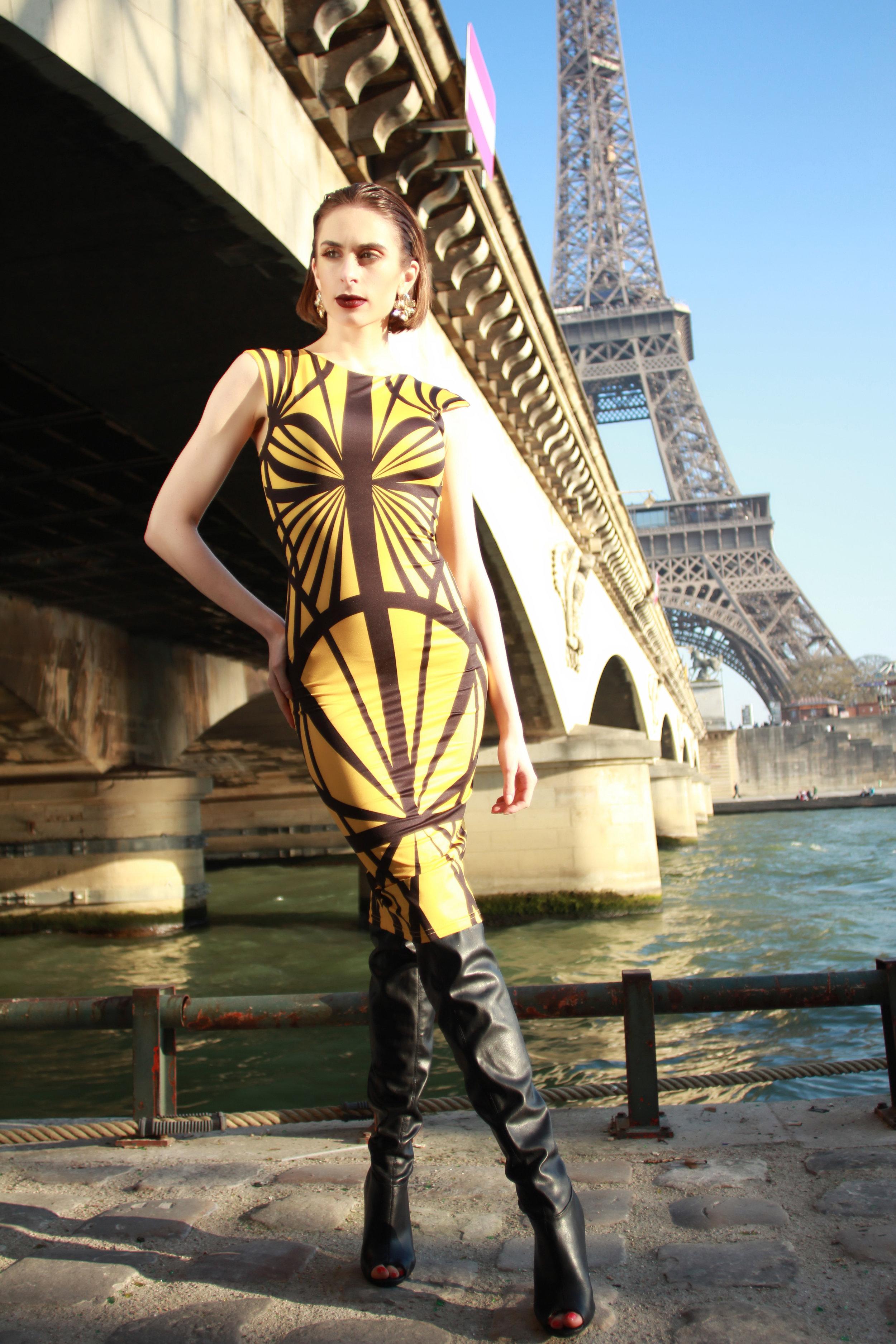 Dress : Immortel Couture Paris  Boots : Guiseppe Zanotti  Earrings : Oscar De La Renta