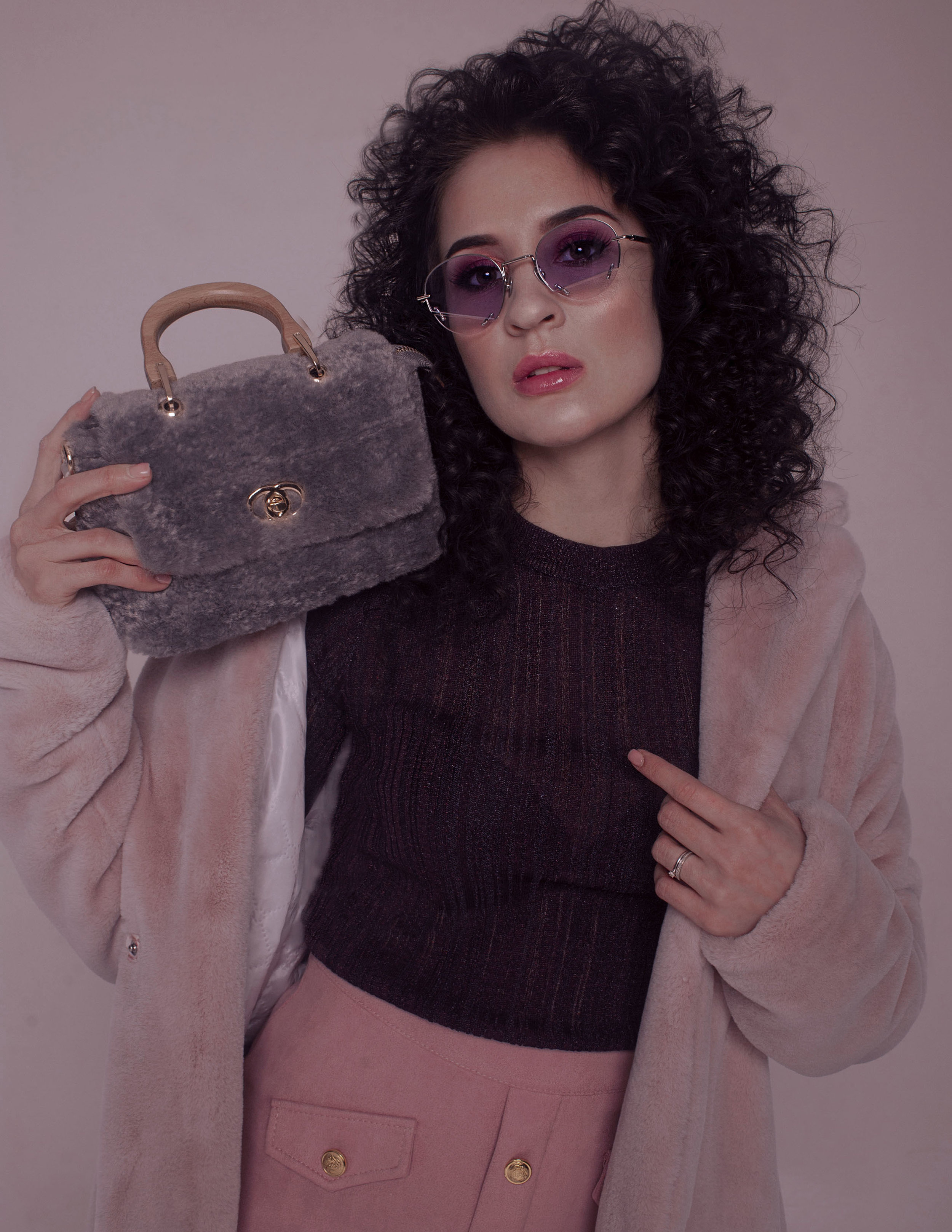 Blouse and Skirt  by Zarina  Fur Coat  by Pinktlt  Bag by Pinktlt  Sunglasses by HAZE