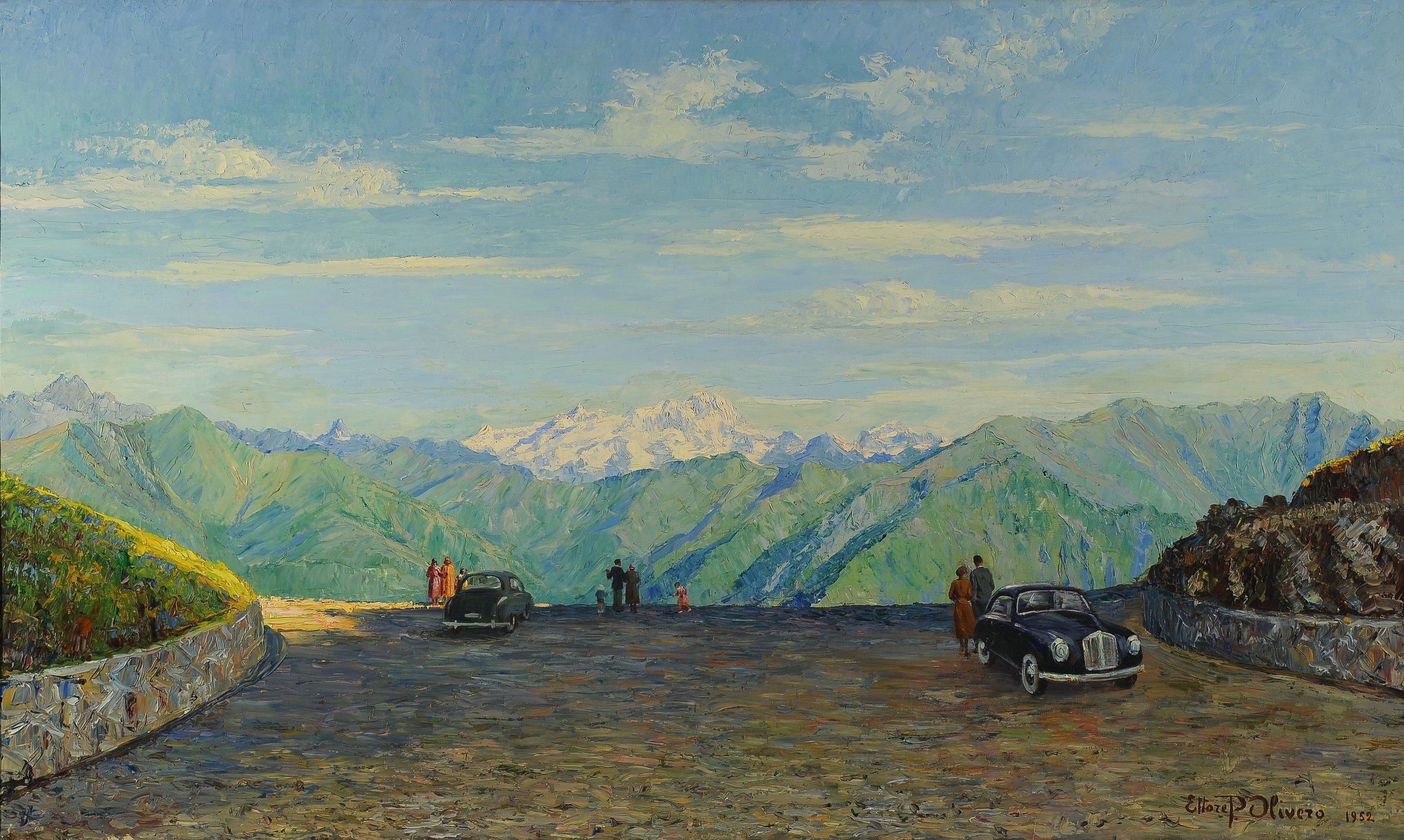 Ettore Pistoletto Olivero, Bocchetto di Margosio con lo sfondo di Monte Rosa, 1952