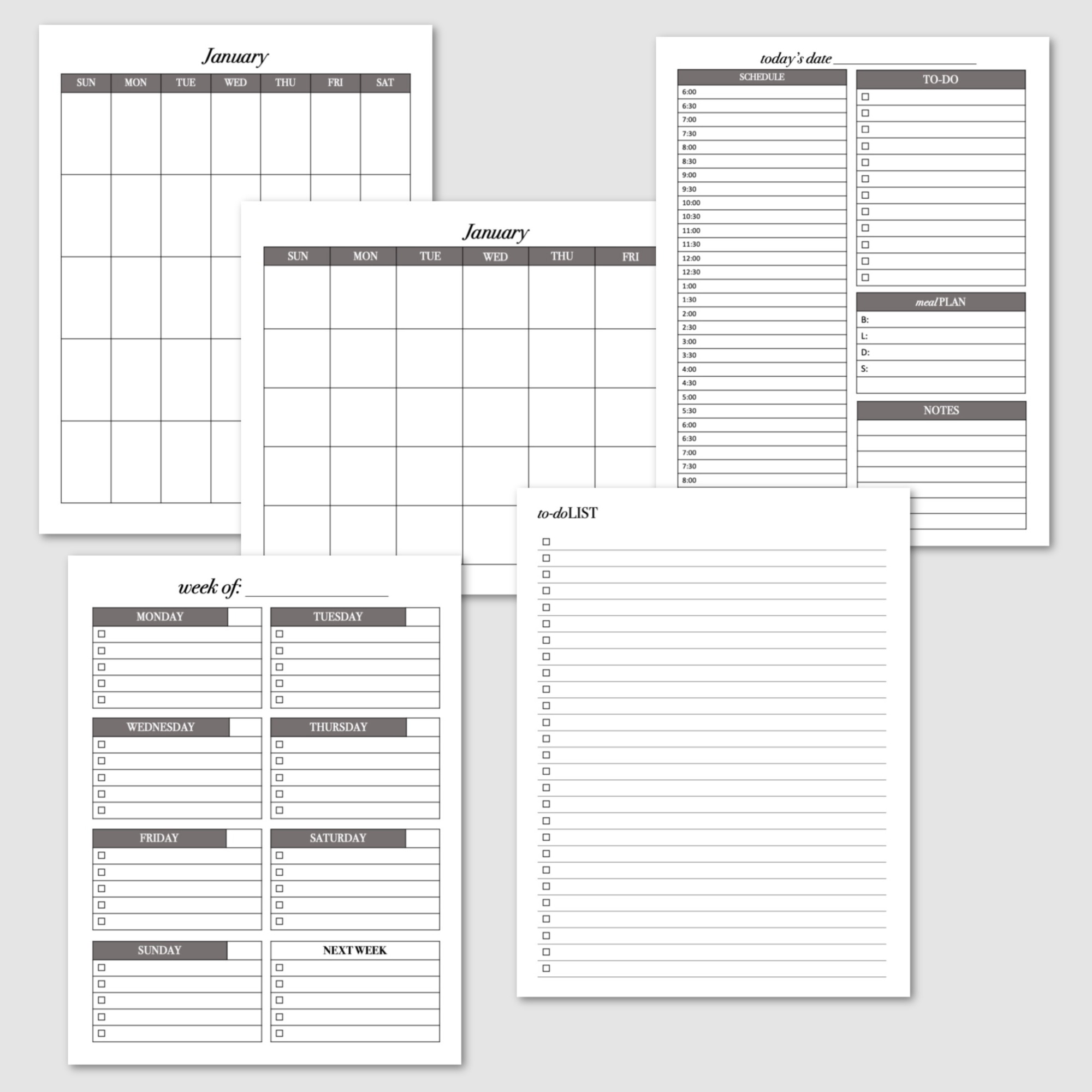 Calendars and to-do lists planner pack. Horizontal and vertical perpetual calendars, daily planner, 2 weekly planner pages, and the to-do list and checklist