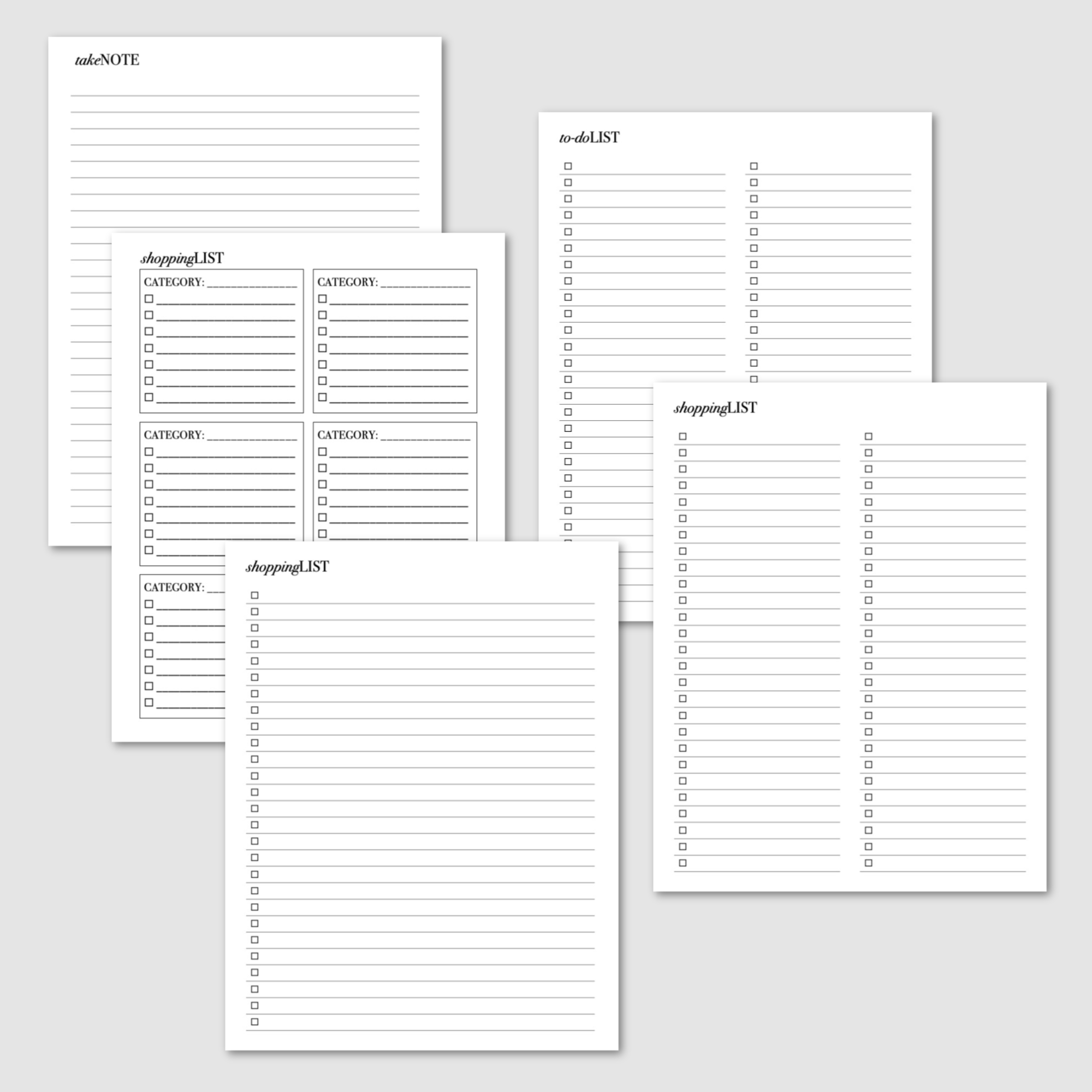 Calendars and to-do lists planner pack. Shopping list, checklist and category list, to-do list and notes pages