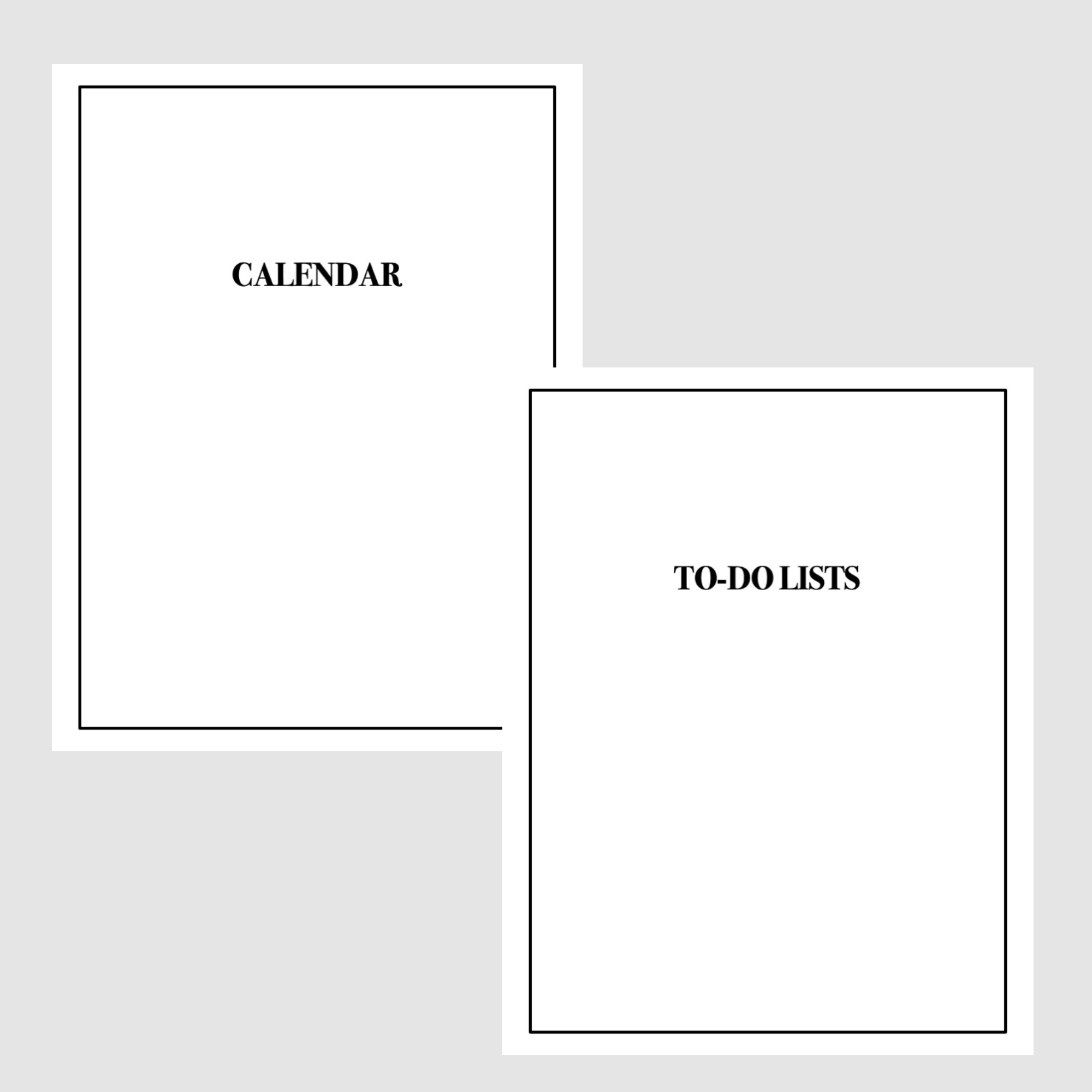Calendars and to-do lists planner pack.   Manage your time with these fun and practical planner Printables! Calendar Cover and To-Do List Cover