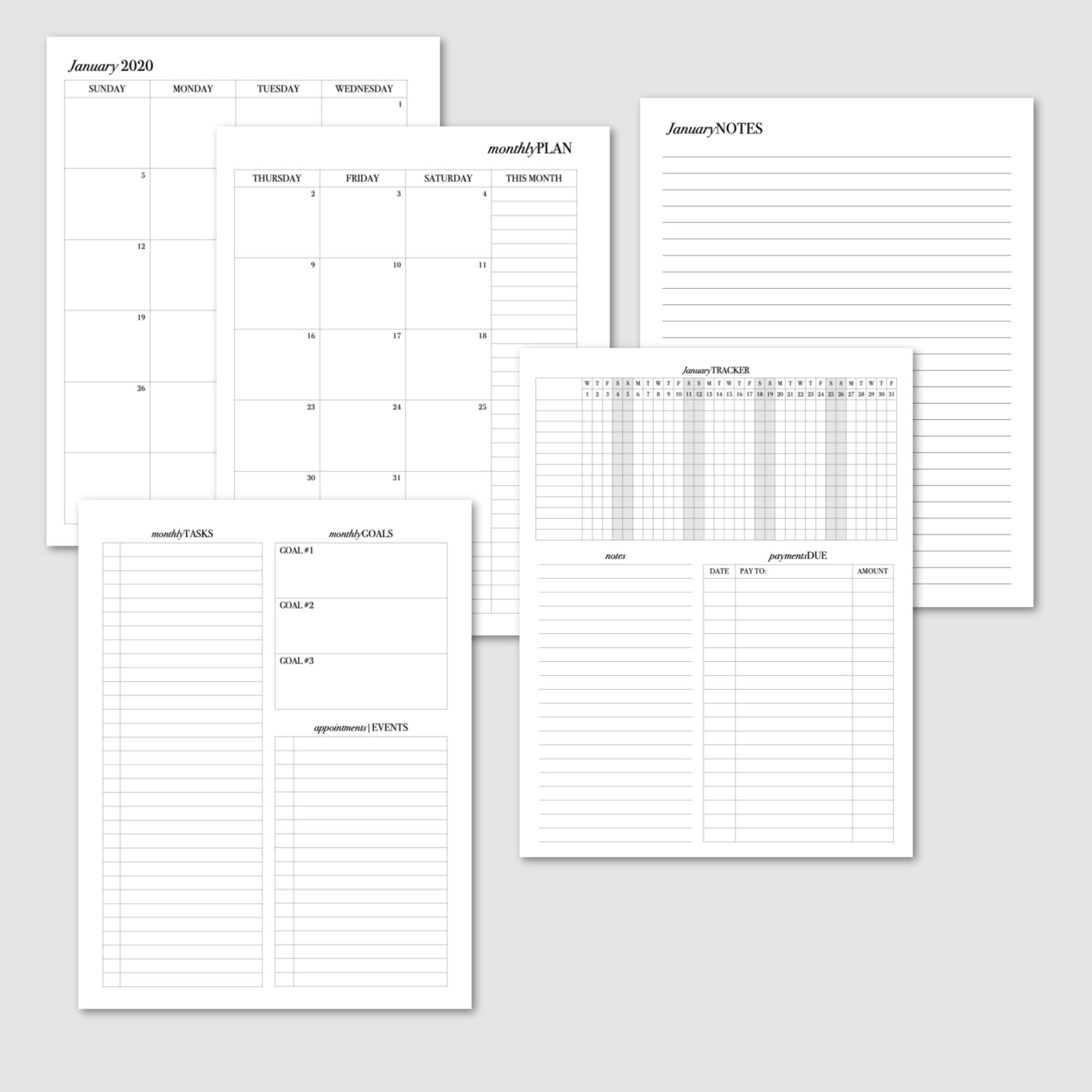 Master Planner 2020 Monthly Pages