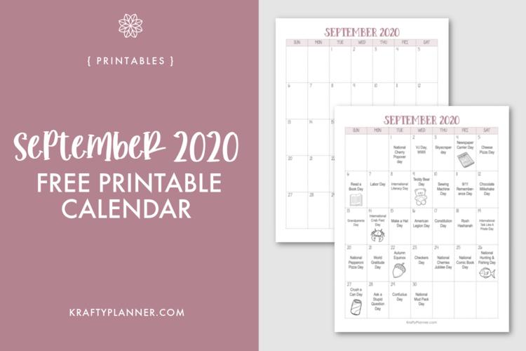 Free Printable September Calendar Editable Pdf Krafty Planner