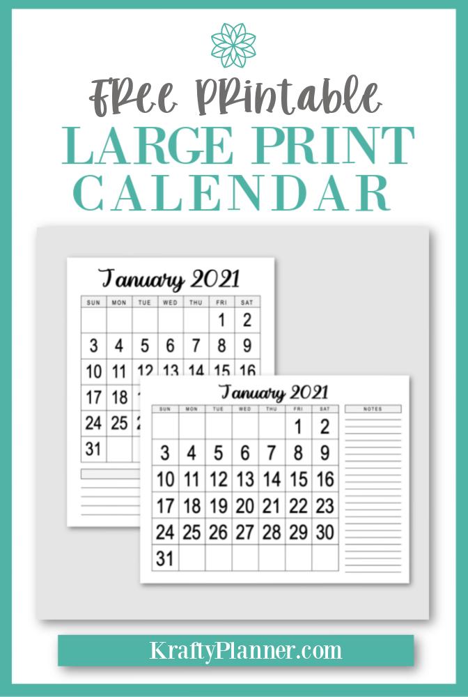 Large Print 2021 Calendar {Free Printable}