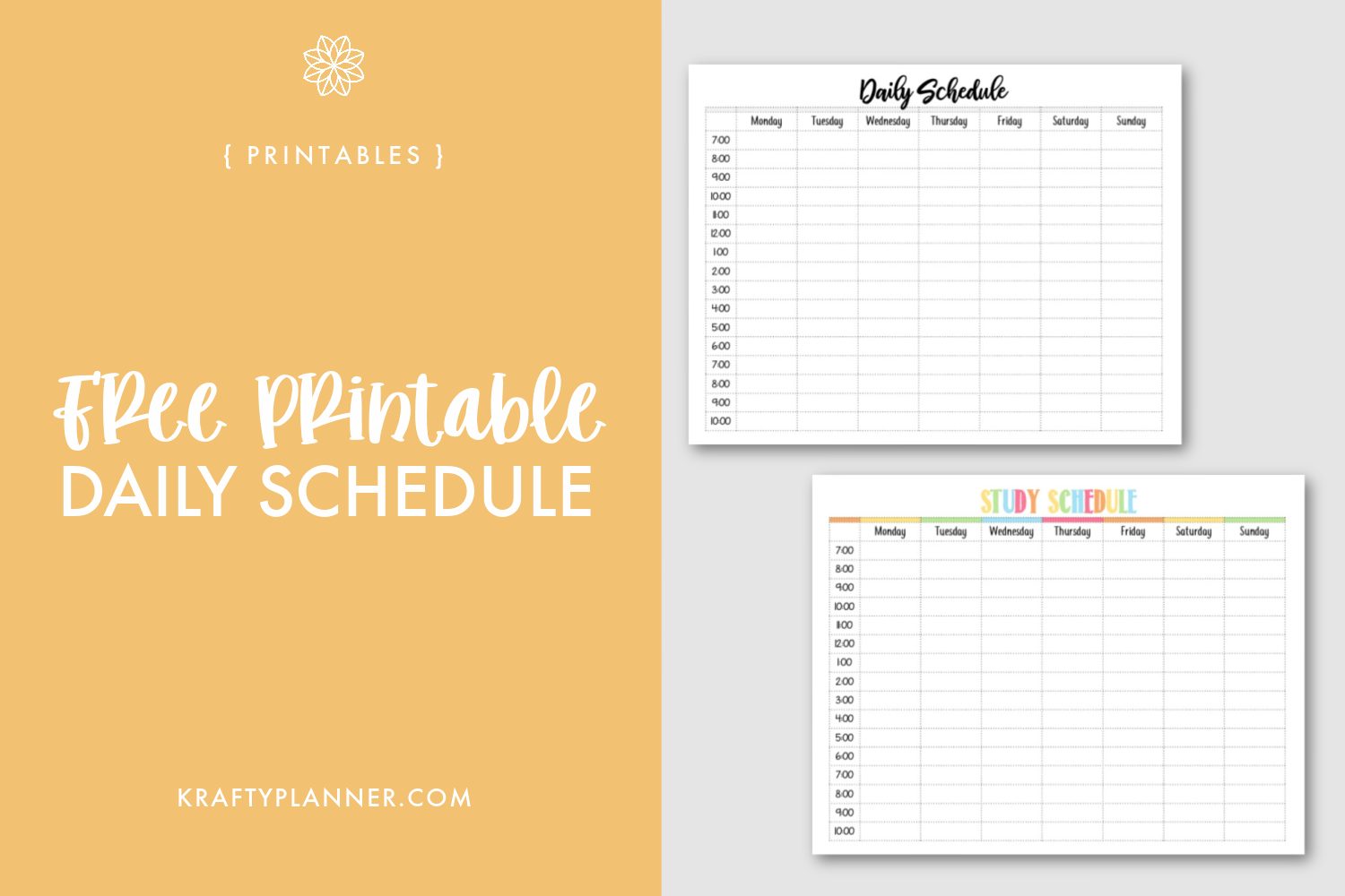 Free Printable Daily Schedule Main Image