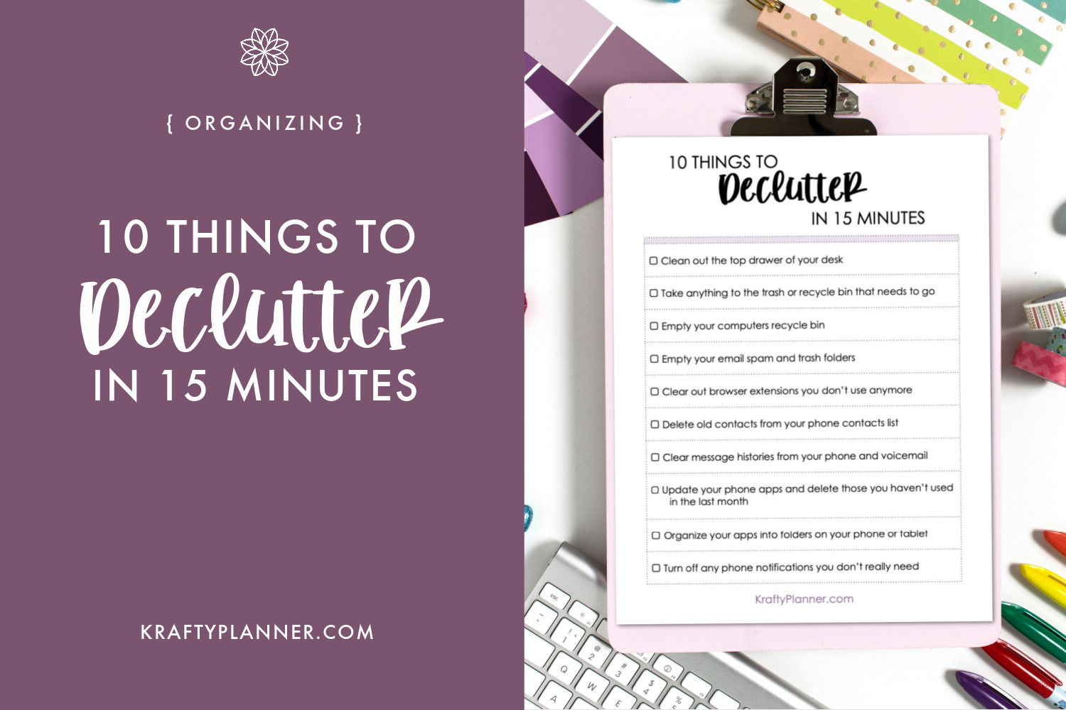 10 Things to Declutter in 15 Minutes {Free Printable Checklist}