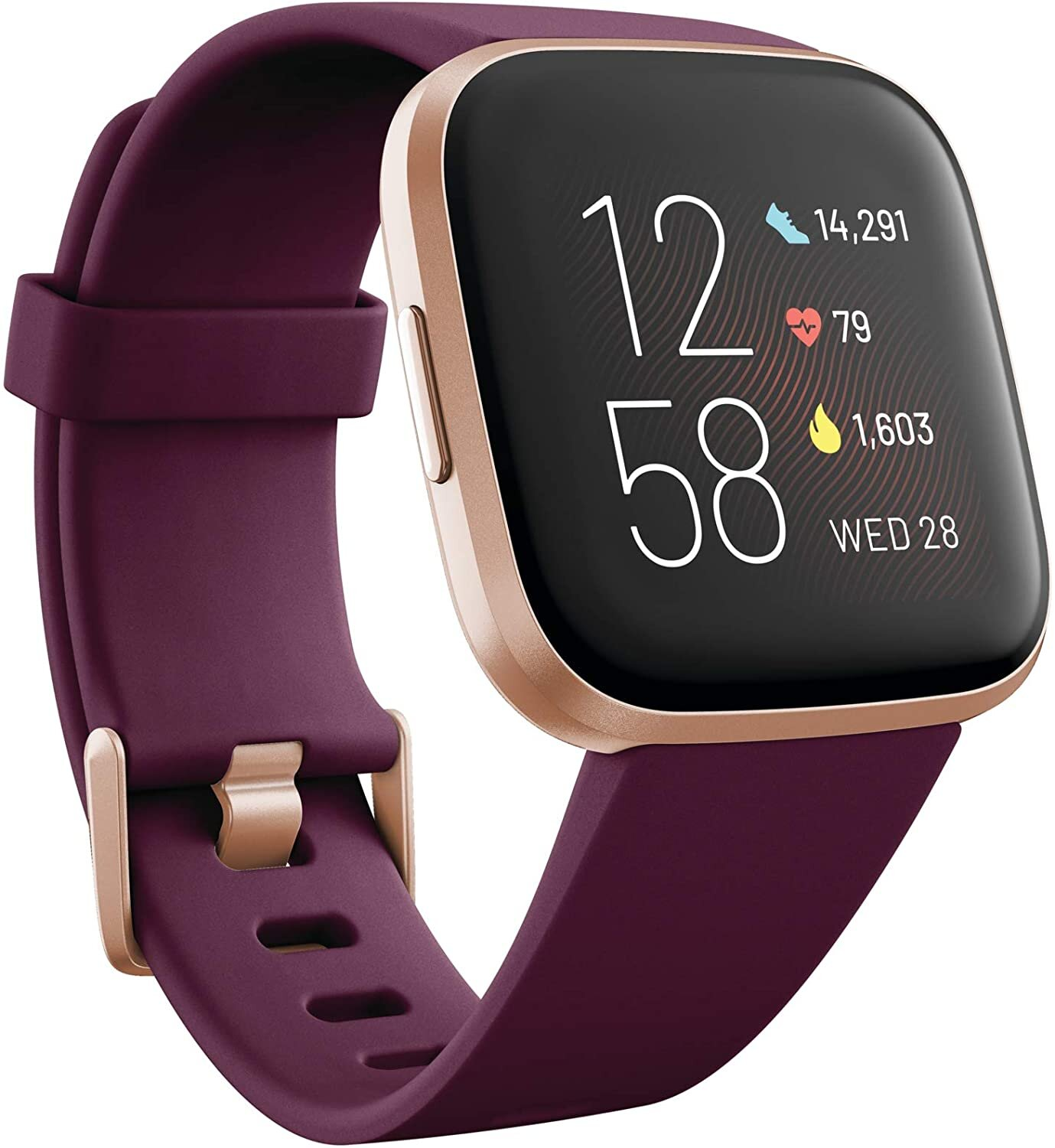 Fitbit Versa 2 Health and Fitness Smartwatch with Heart Rate, Music, Alexa Built-In, Sleep and Swim Tracking, Bordeaux/Copper Rose