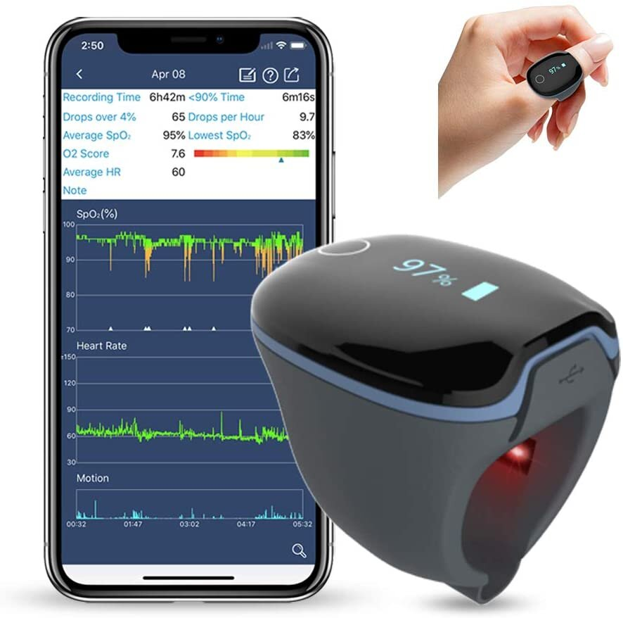 Wellue O2Ring Wearable Sleep Monitor - Bluetooth Health Tracker with Free APP & PC Report