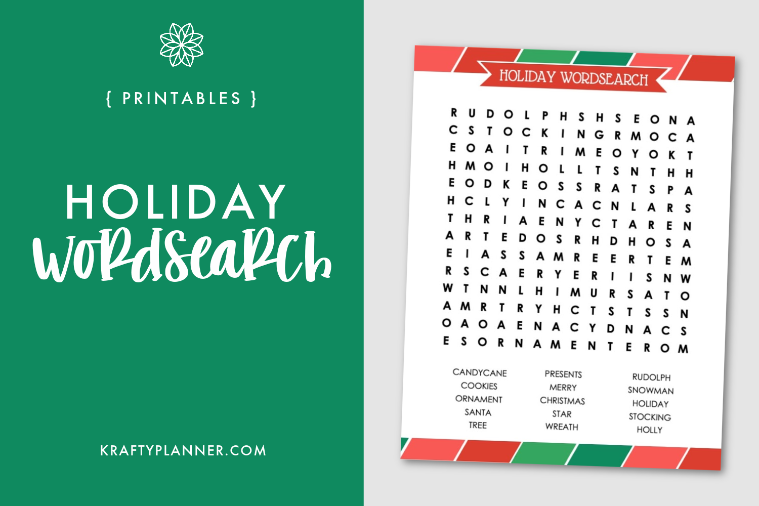 Free Printable Holiday Wordsearch