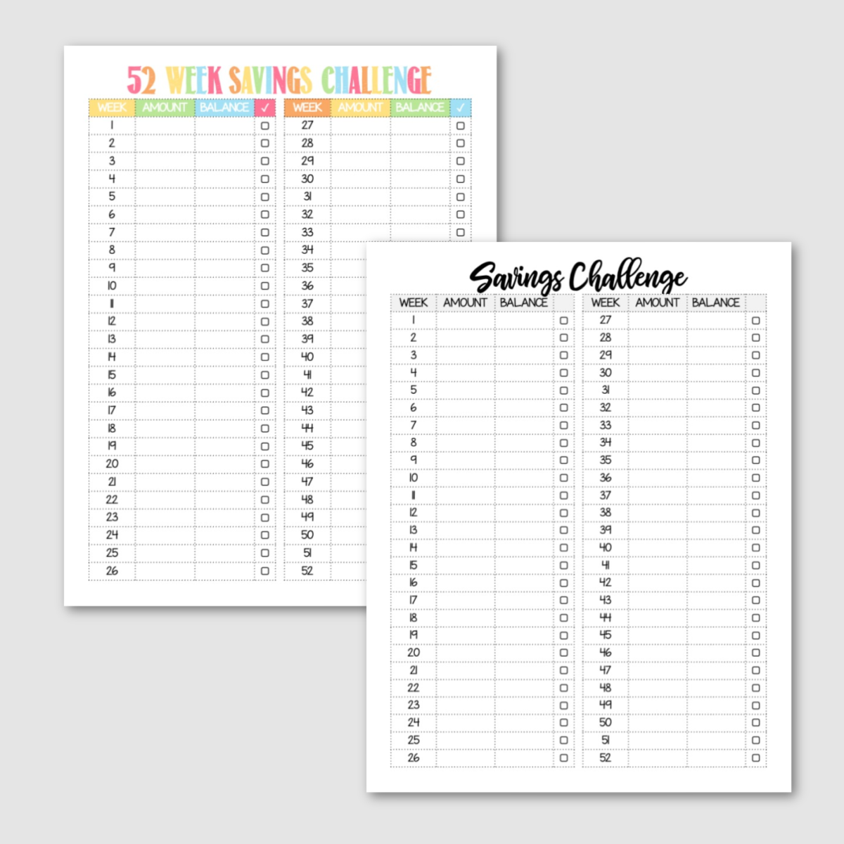 Free Printable Blank 52 Week Savings Challenge