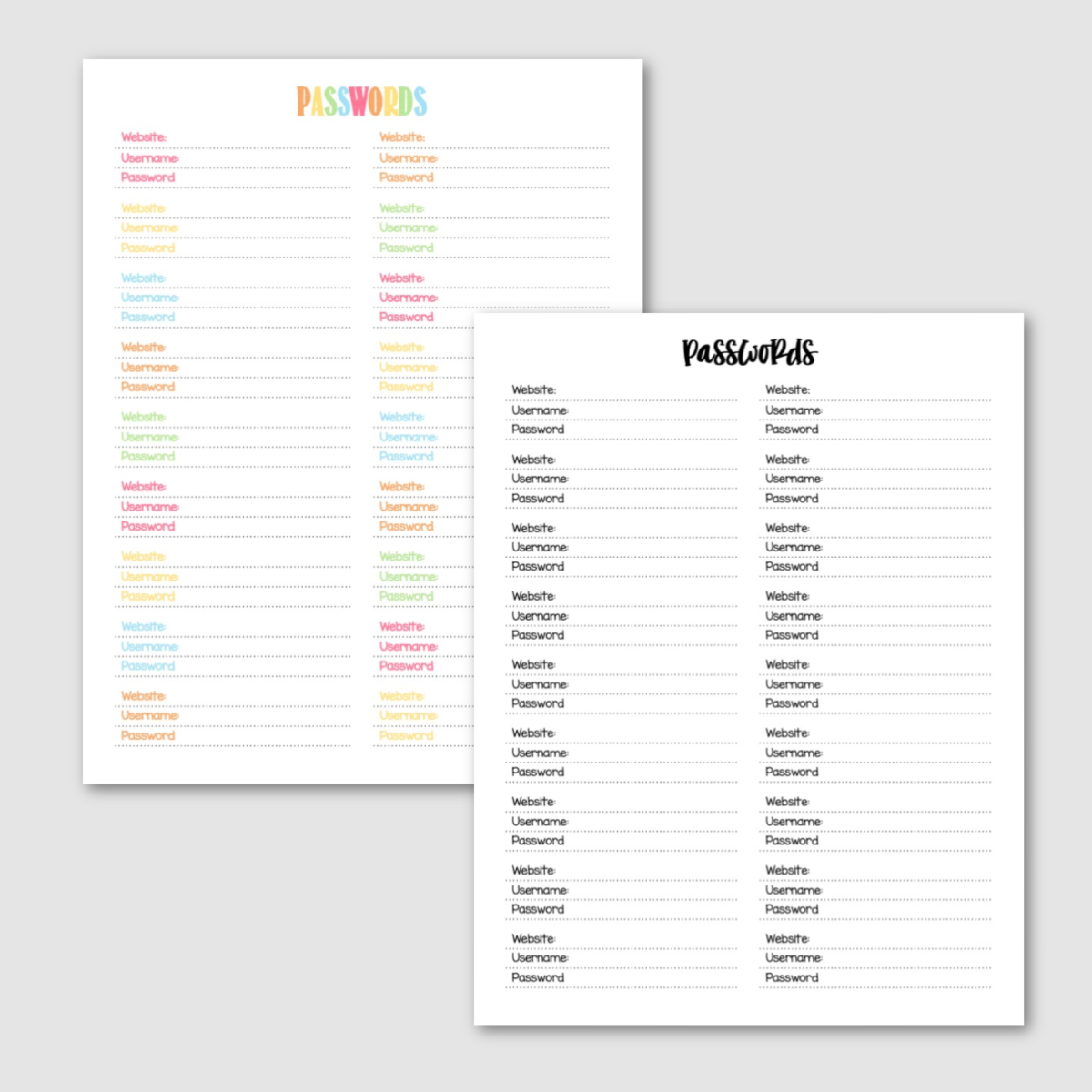 Free Printable Passwords Log