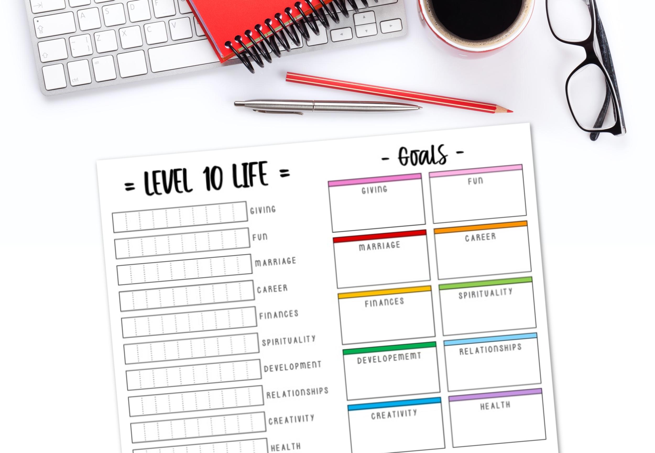 Level 10 Life Free Printable Worksheet