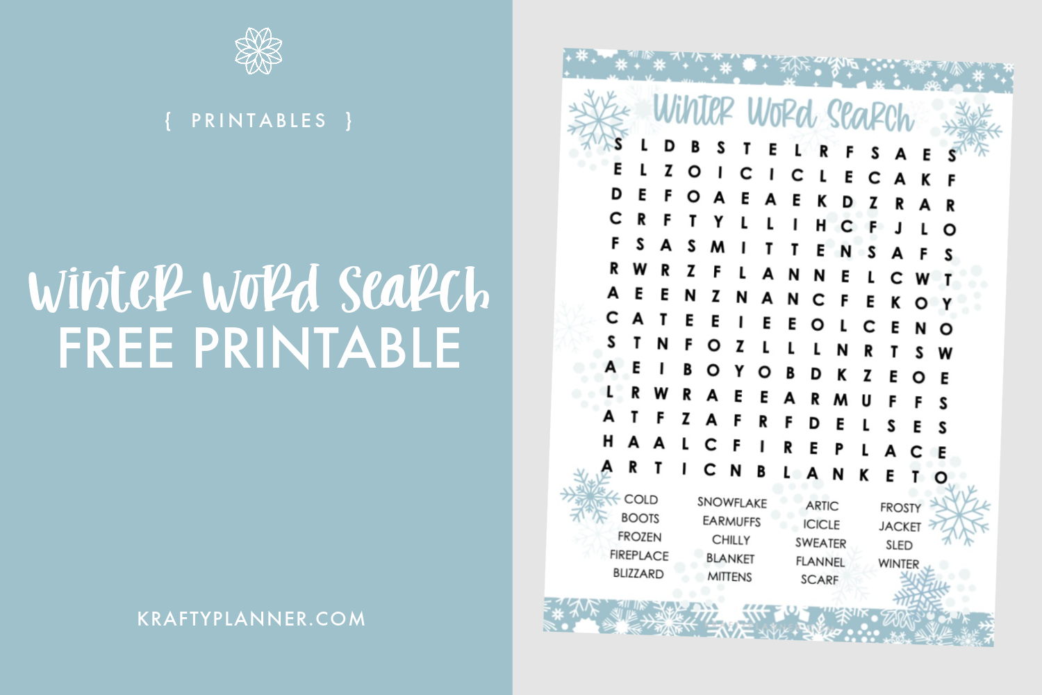 Winter Word Search Free Printable