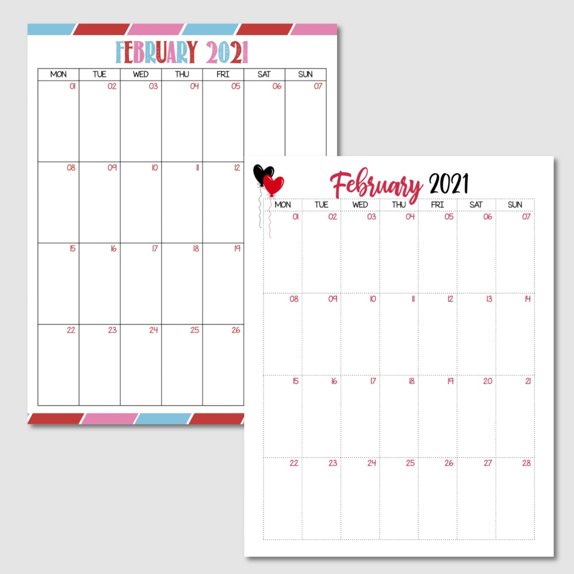 Free Printable February 2021 Calendar Monday Start.png
