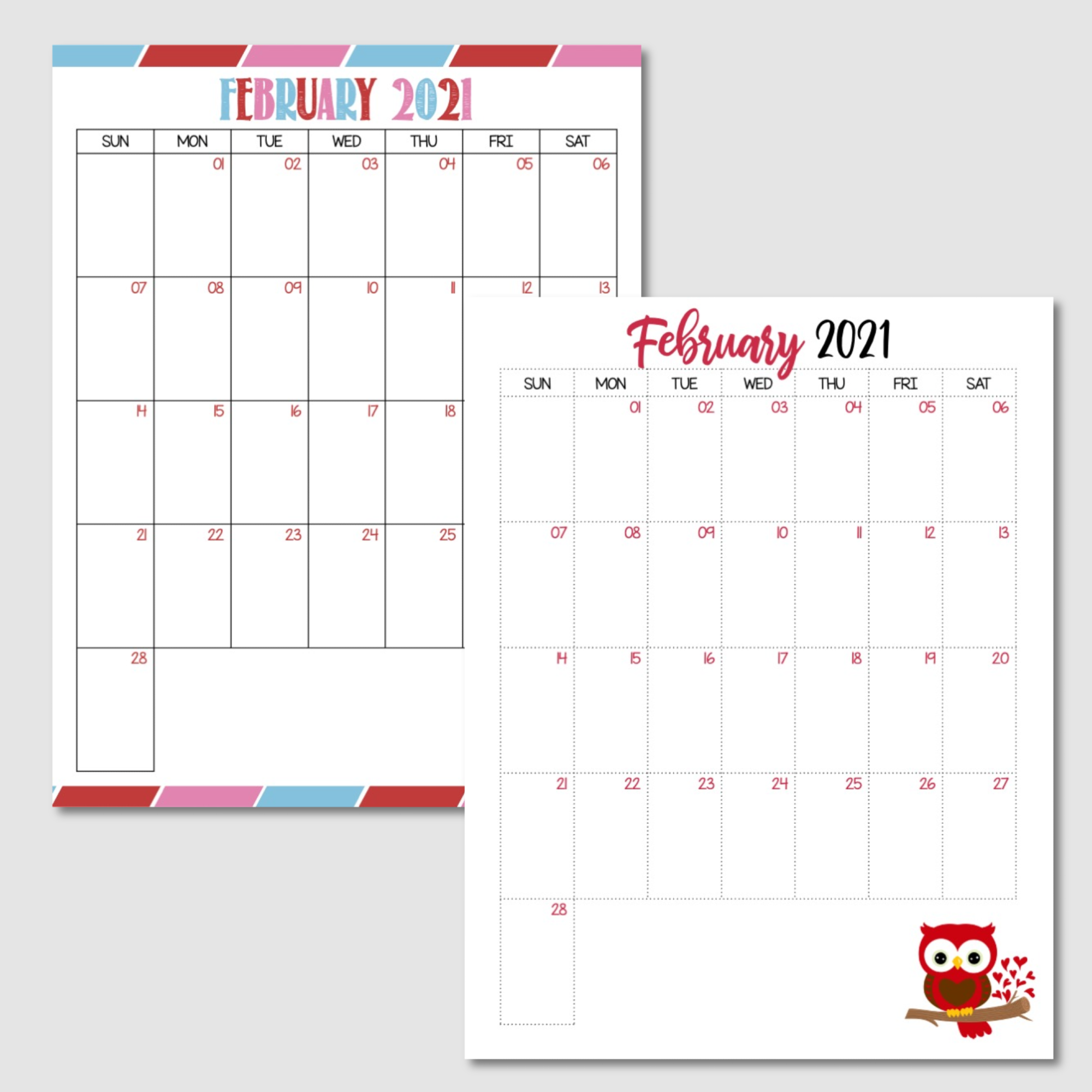 Free Printable February 2021 Calendar Sunday Start.png