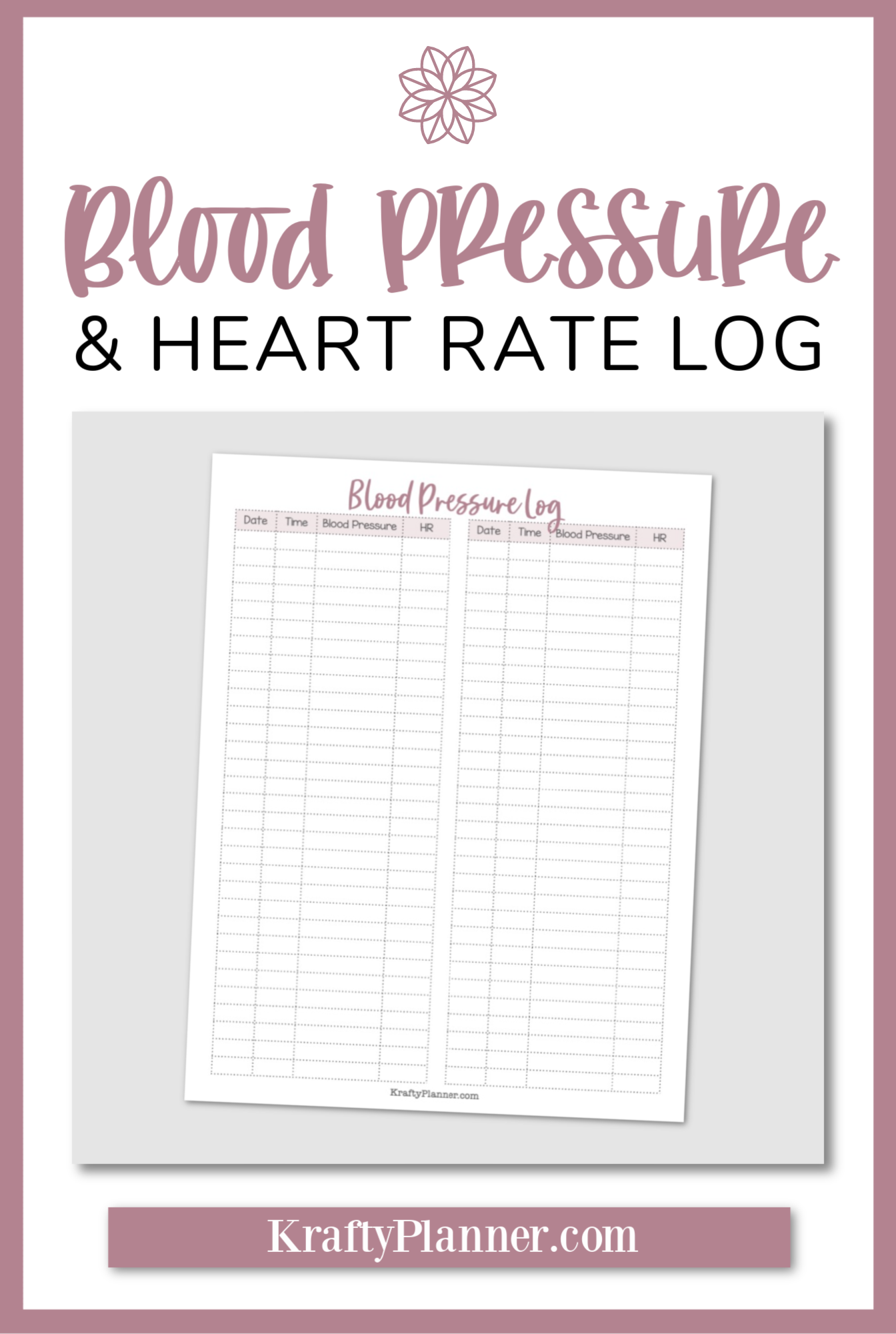 Blood Pressure and Heart Rate Tracker {Free Printable} PIN 2.png