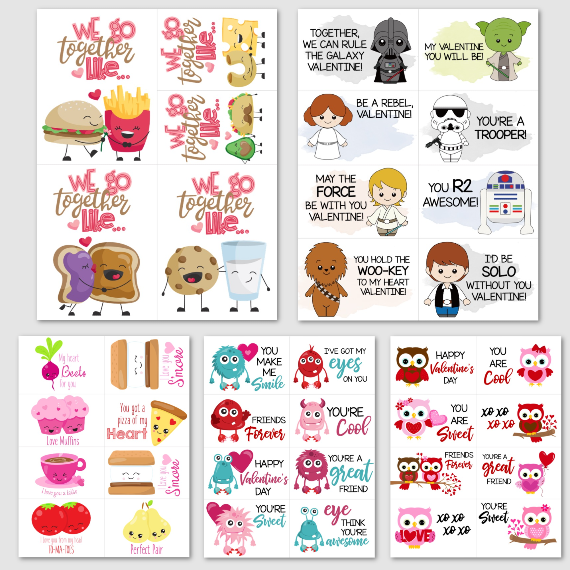 Valentine's Day Fun Printable Cards - 5 Designs