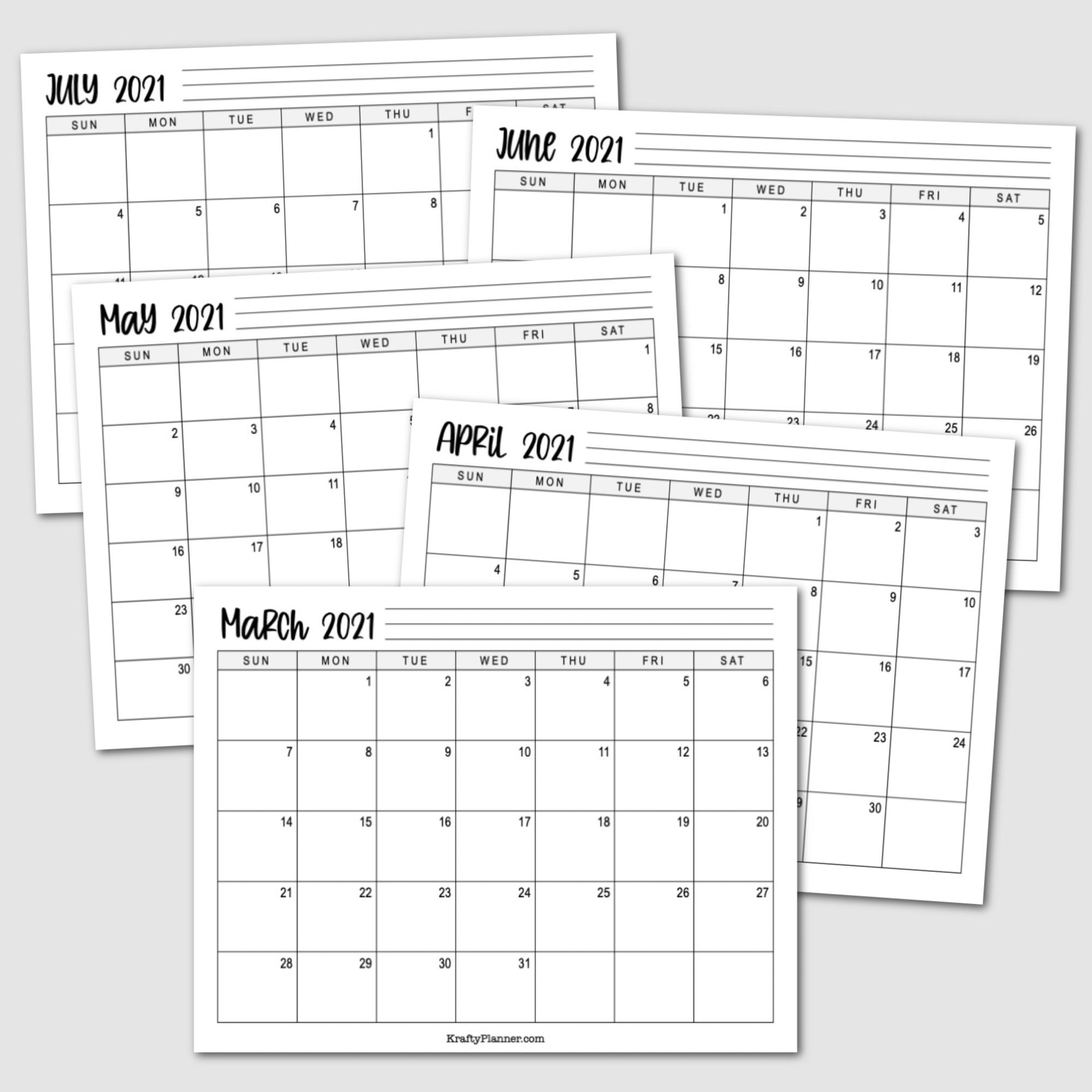 Basic 2021 Landscape Calendar {Free Printable}.png