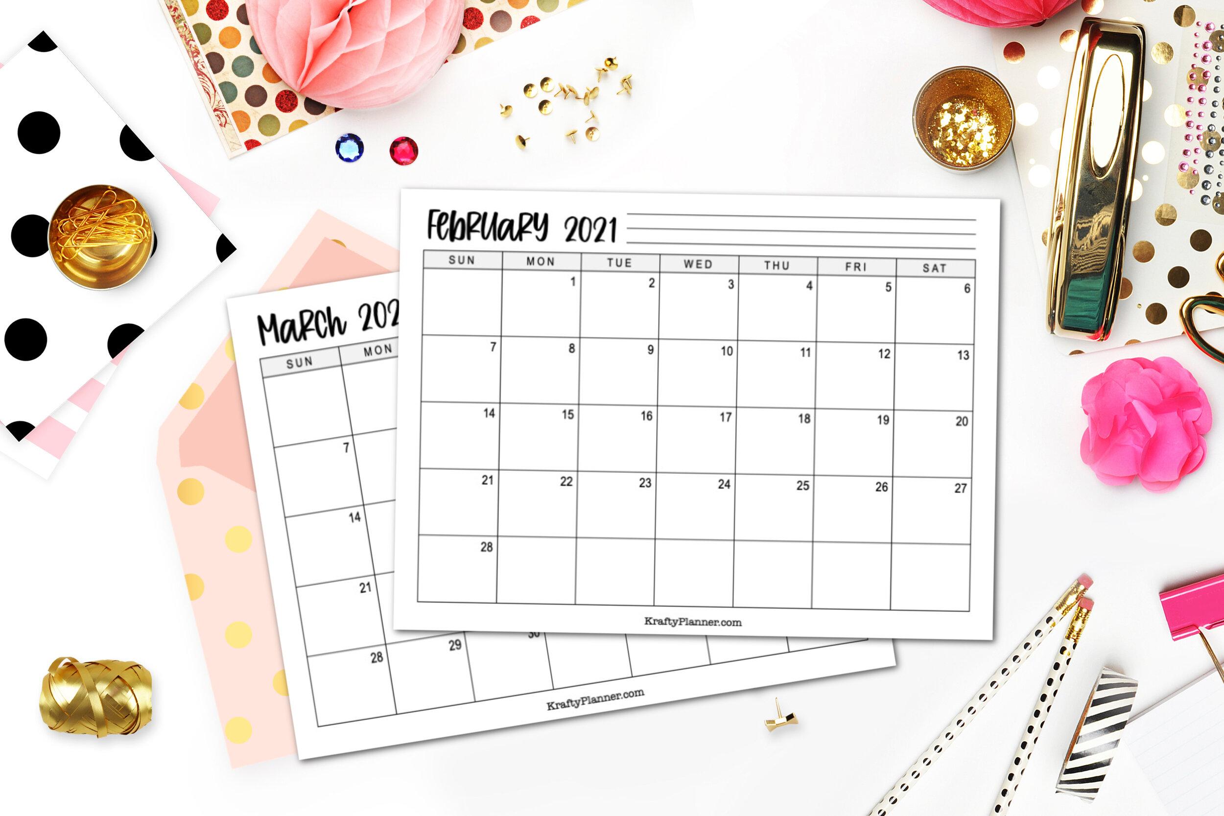 2021 Printable Calendar - Landscape