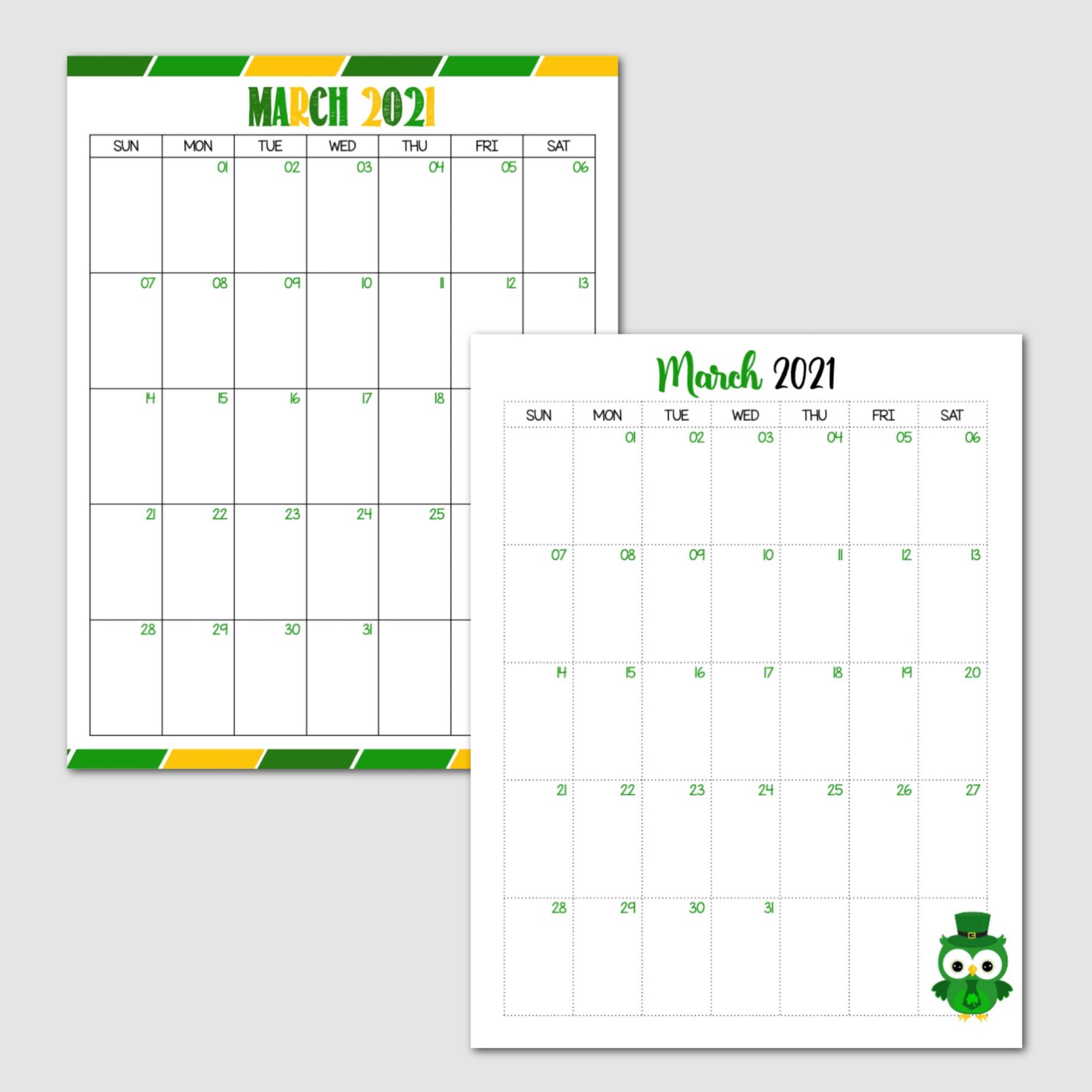 Free Printable March 2021 Calendar Sunday Start Main Image