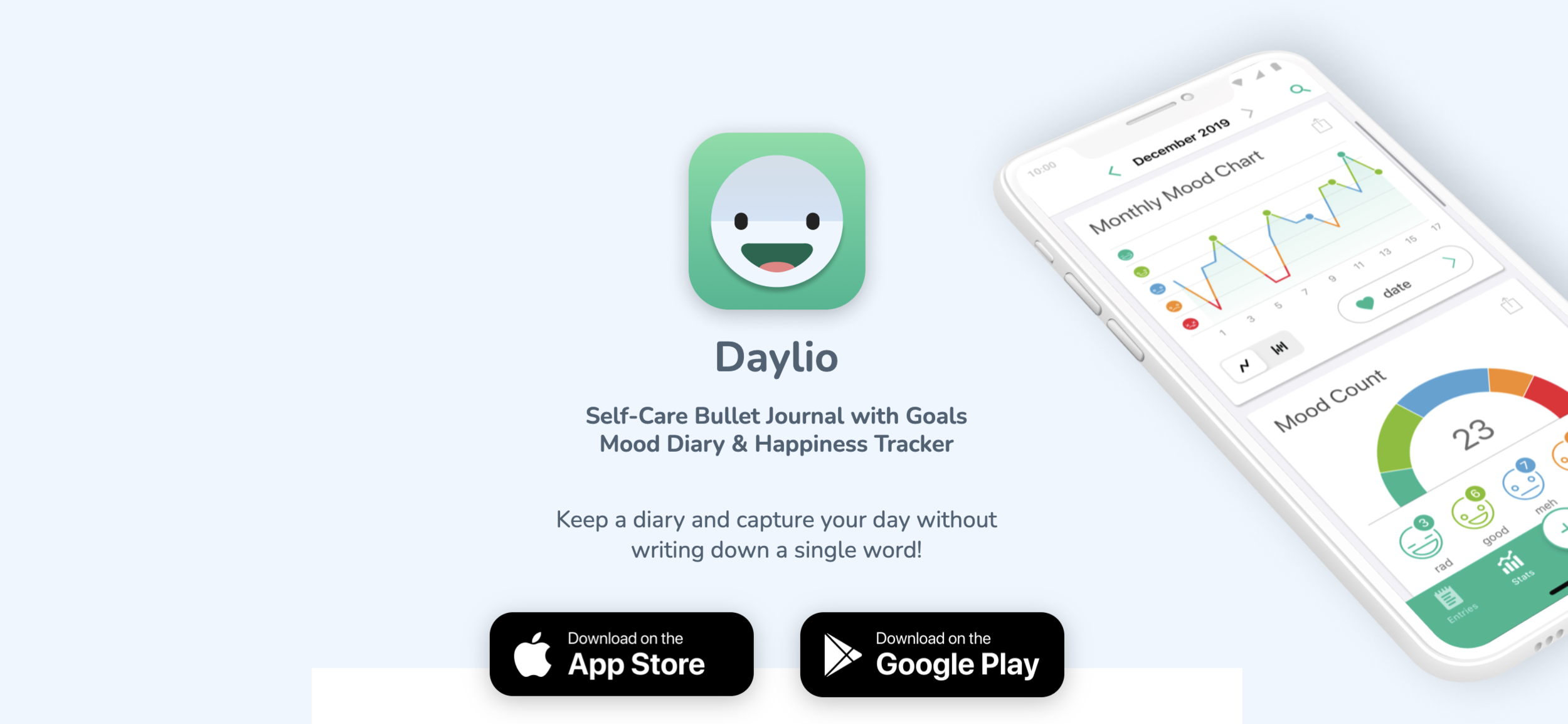 Daylio - Self-care bullet journal with goals mood diary and happiness trackers. Keep a diary and capture your day without writing down a single word.