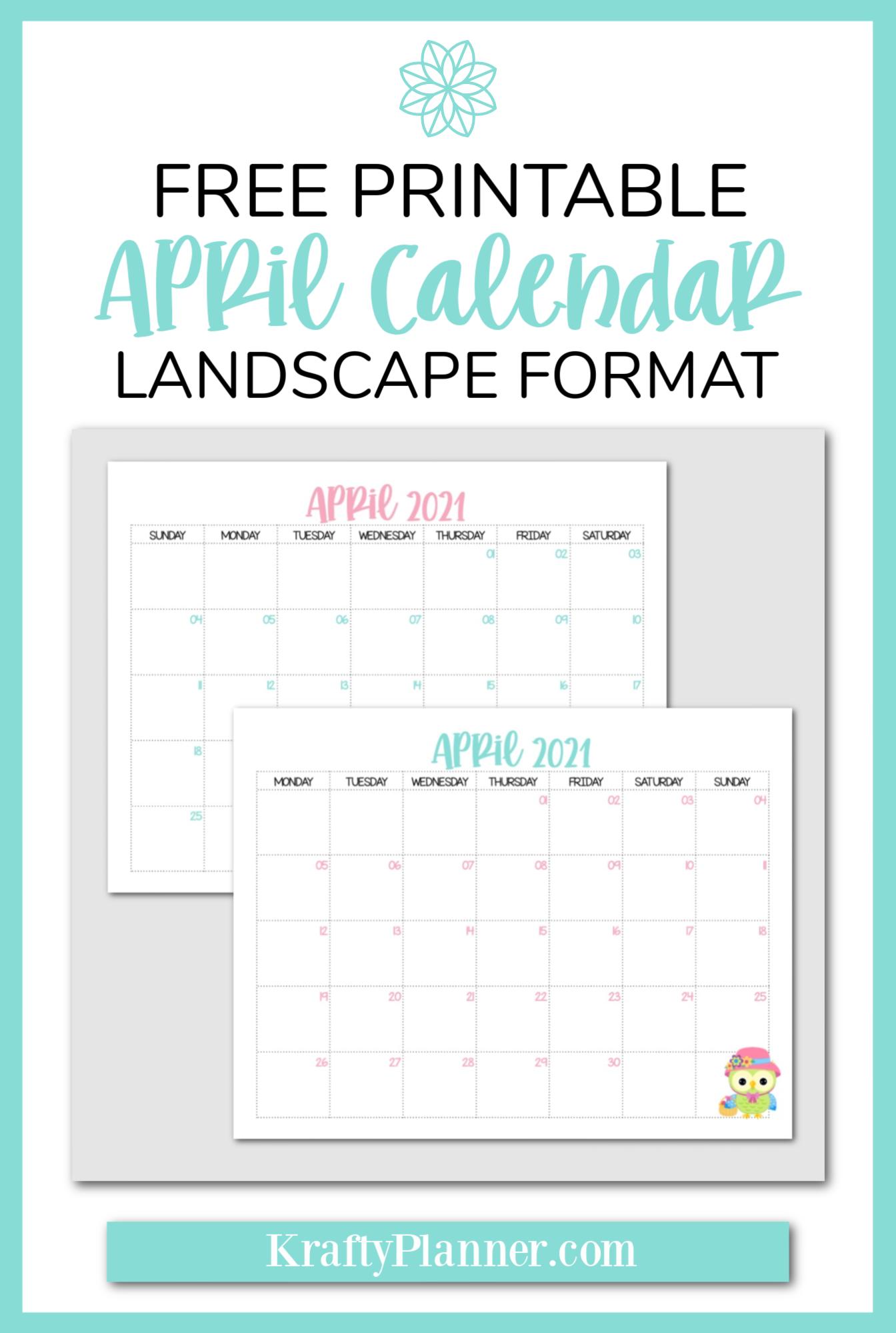 Free Printable April 2021 Calendar {Landscape Format} PIN 2.png