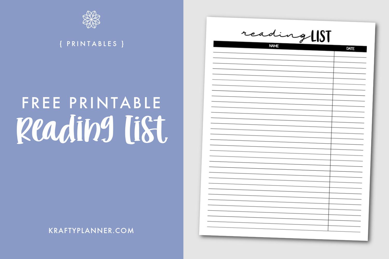 Free Printable Reading List