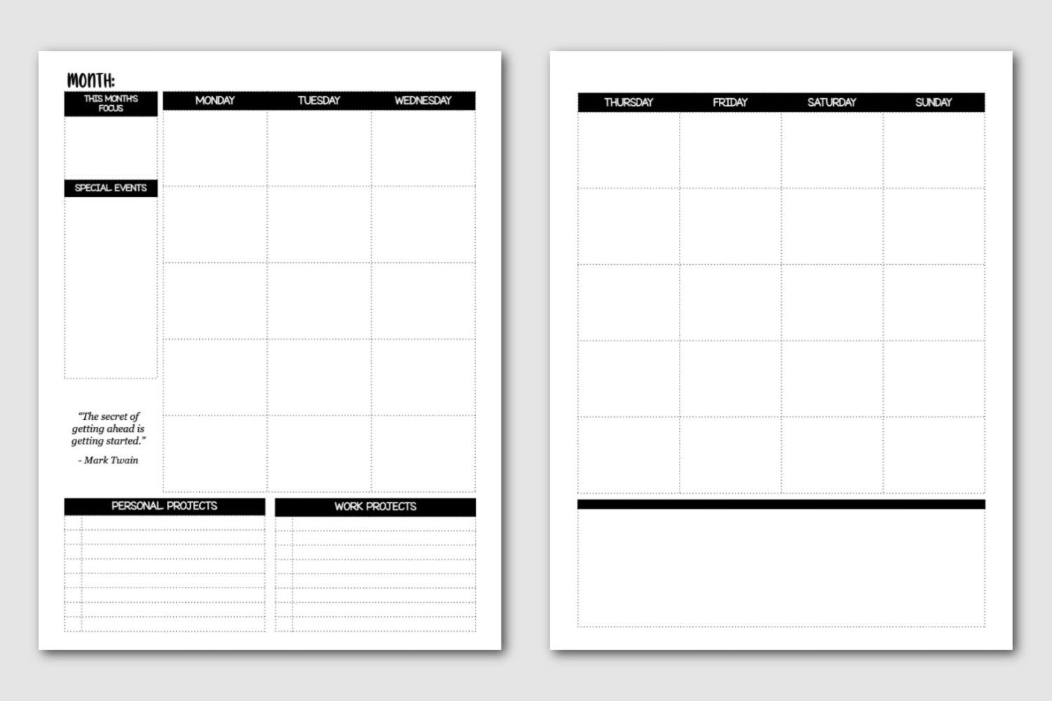 Monthly Plan - Semi Annual Master Planner