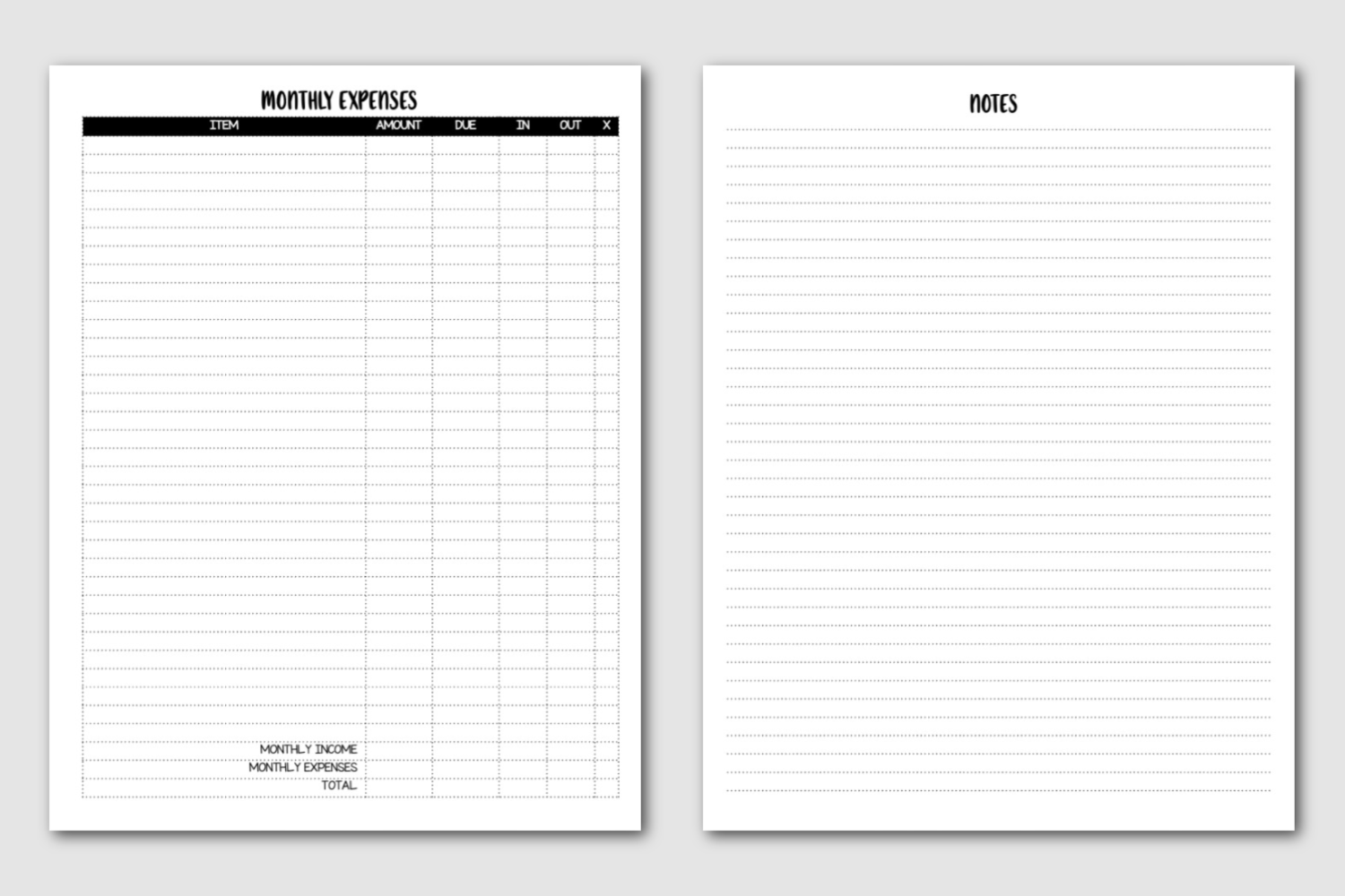 Monthly Expenses and notes - Semi-Annual Planner