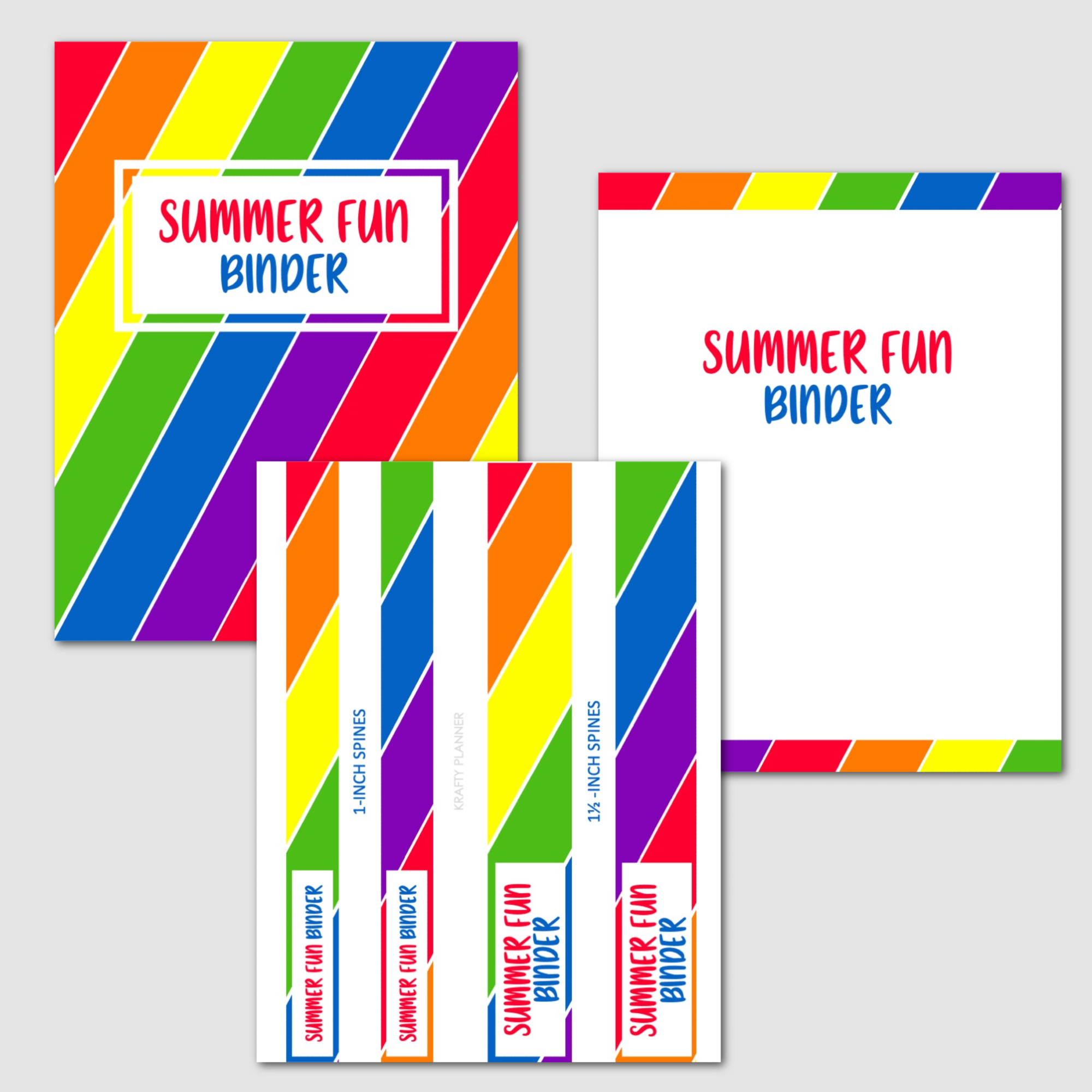 SUMMER FUN BINDER - Covers and spines