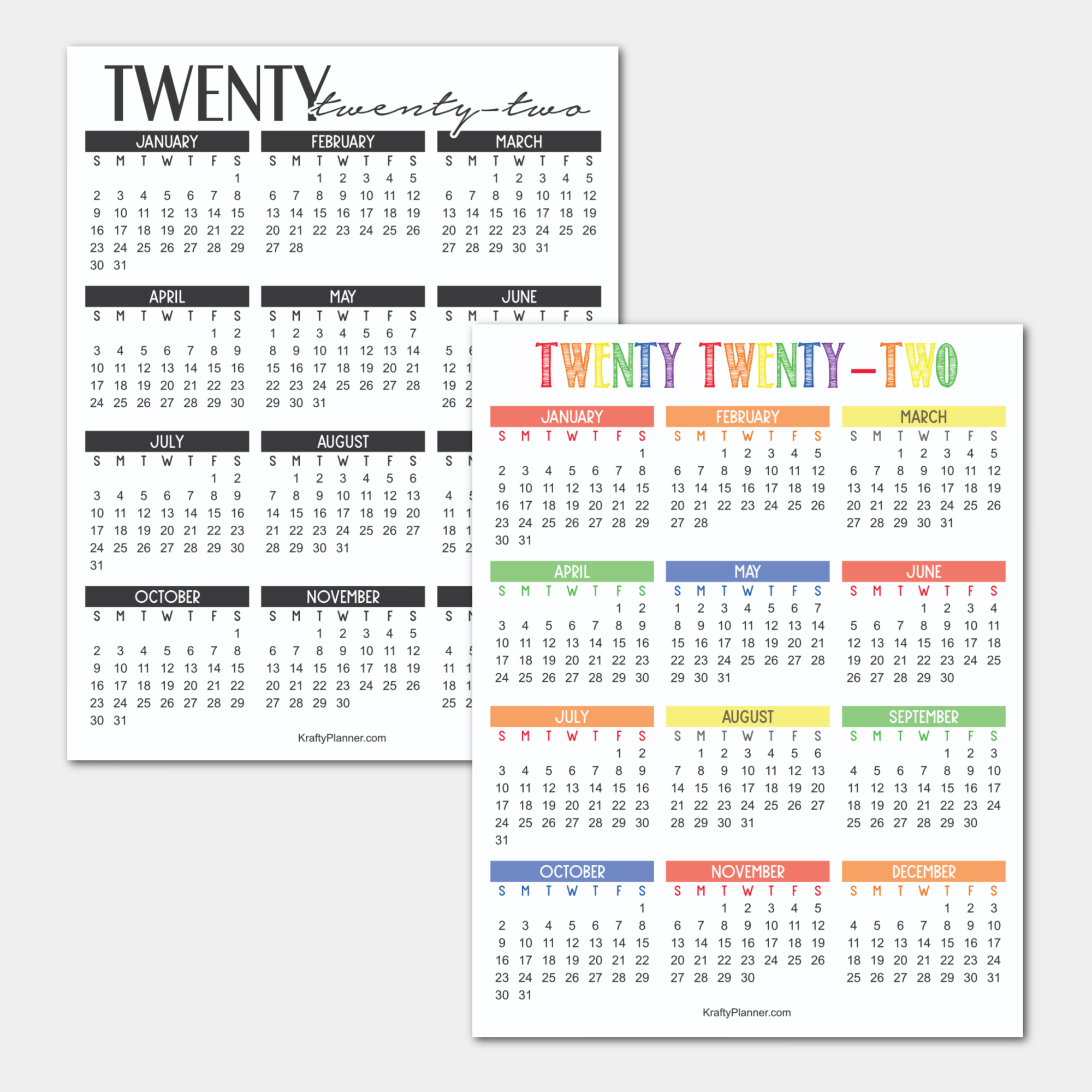 2022 Year-At-A-Glance Free Printable Calendar