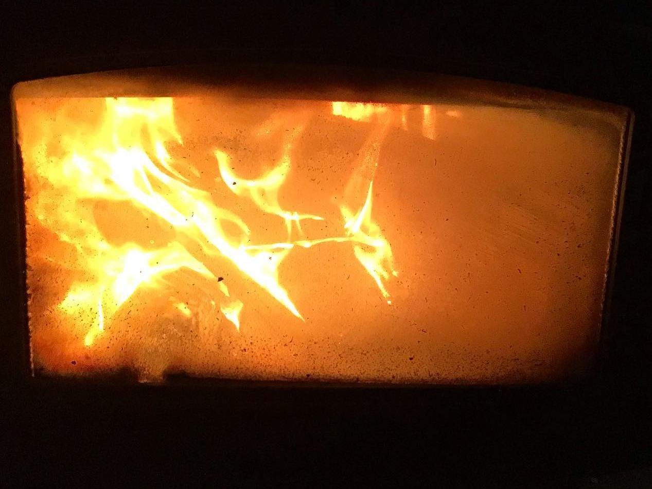 The wood stove keeps us toasty warm on rainy days.