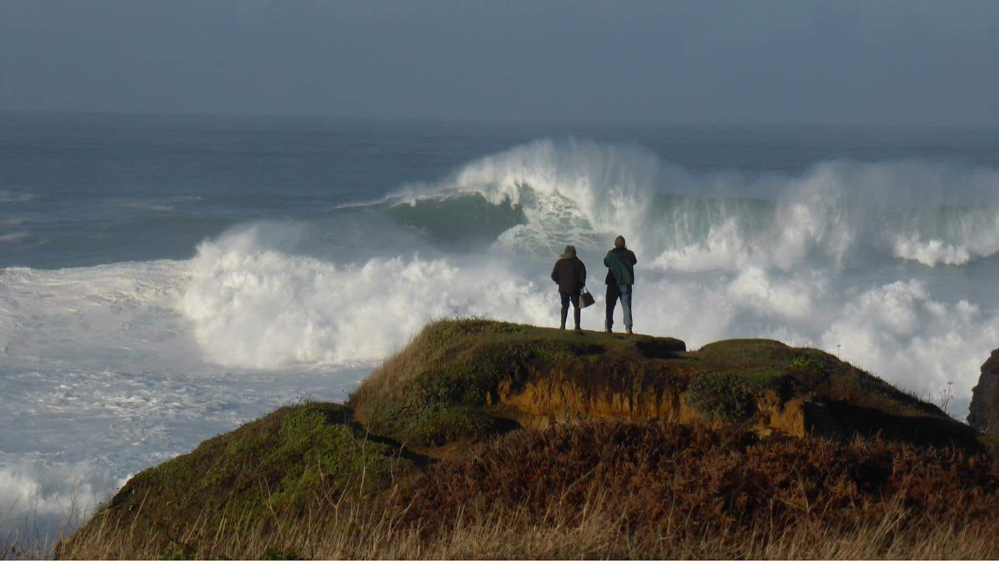 Large winterstorm surf hammering the Mendocino Coast