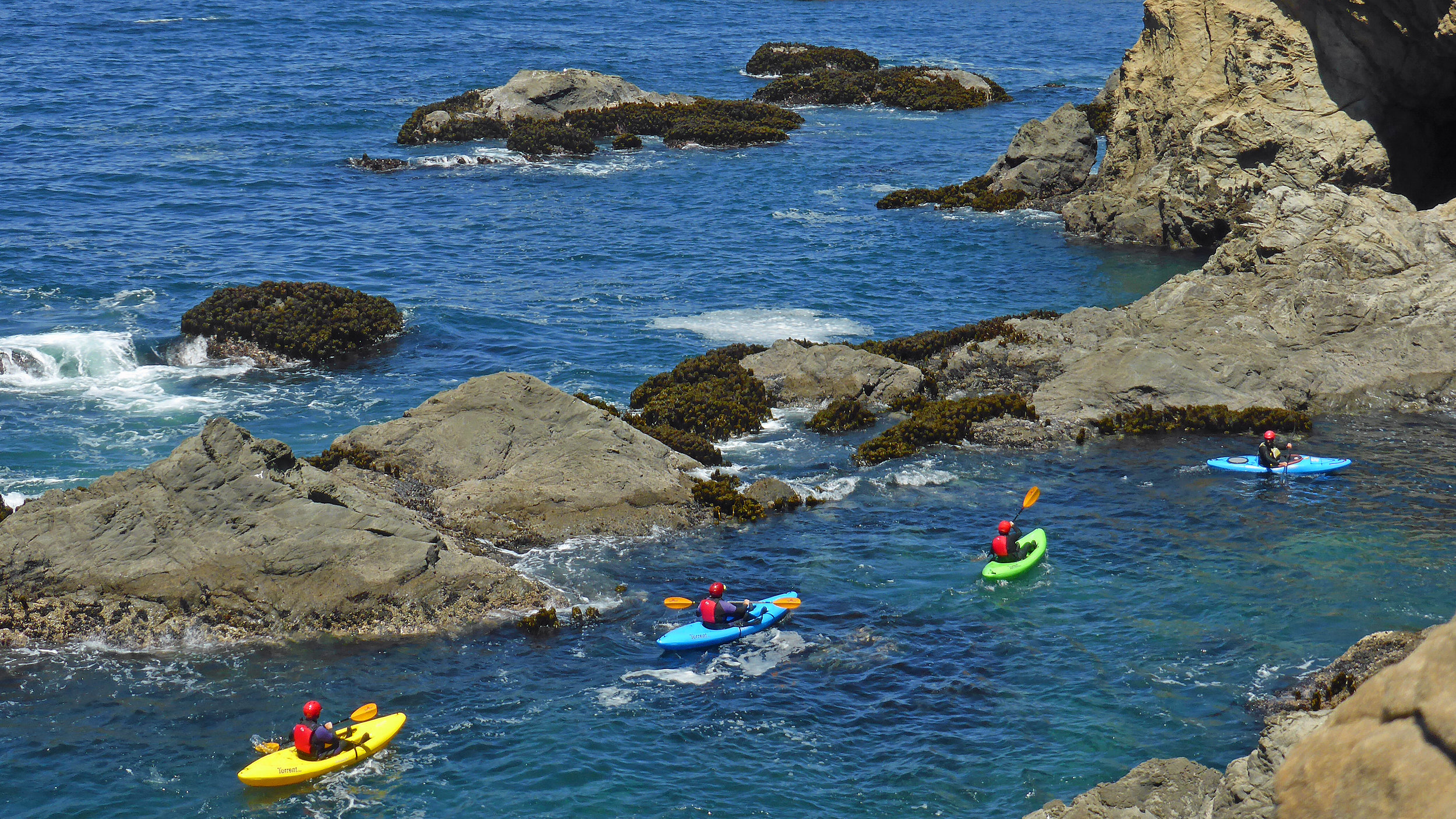 Ocean kayaking on the Mendocino Coast around Noyo Point. Photo by Liquid Fusion Kayaking