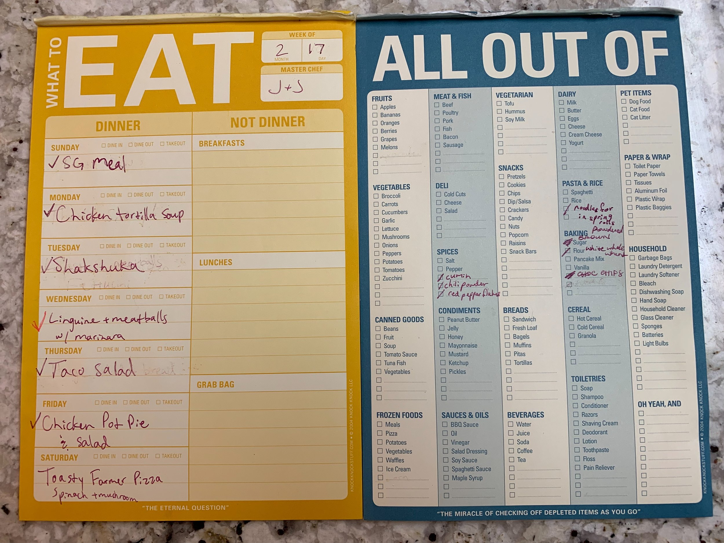 My What To Eat and All Out Of pads from last week