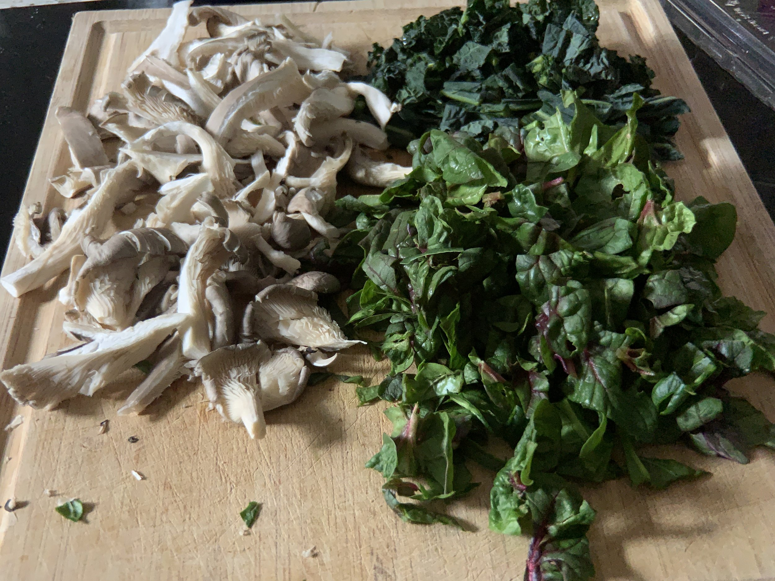 Gorgeous blue oyster mushrooms, kale and spinach
