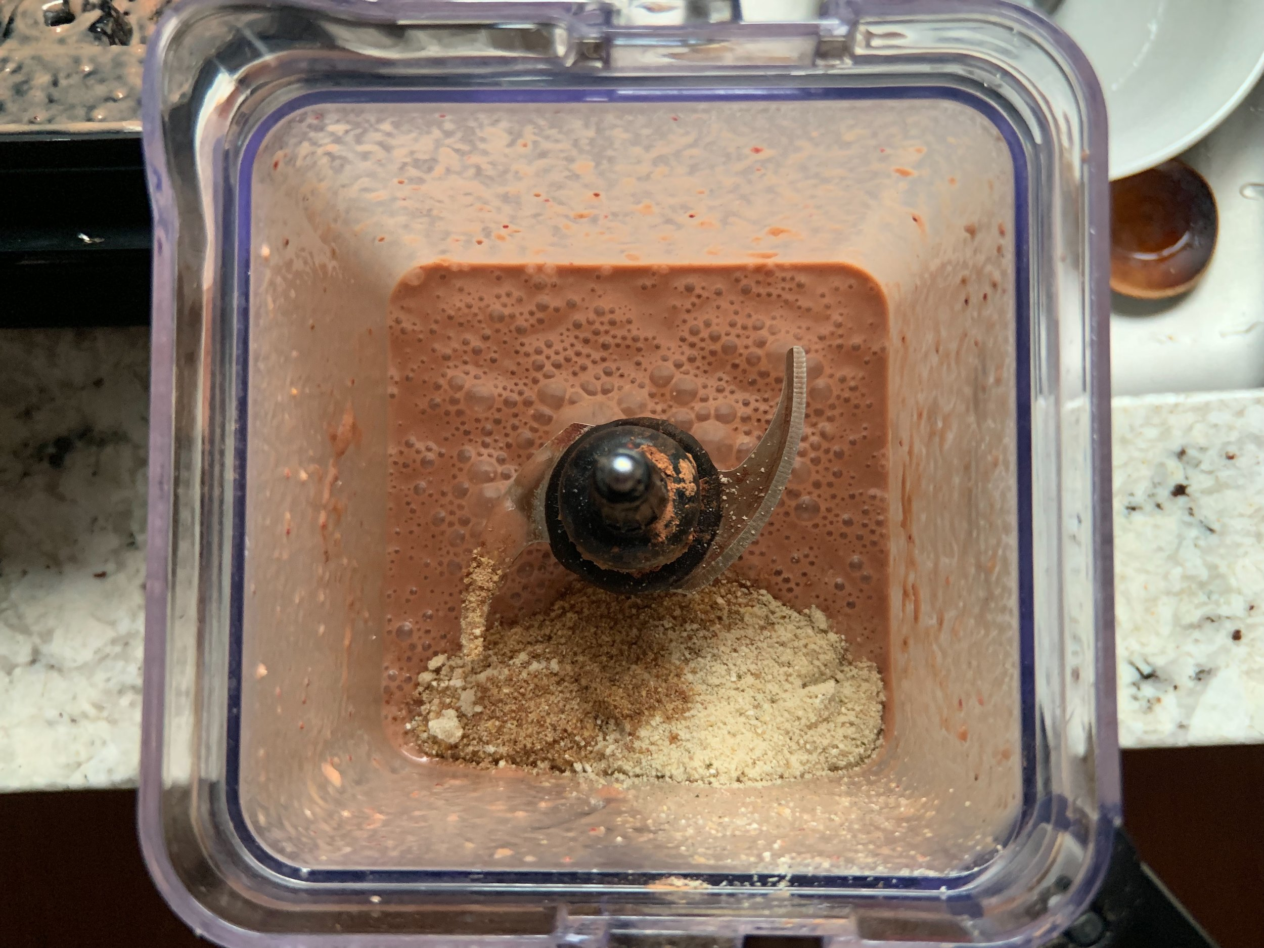 Ground and added to the smoothie