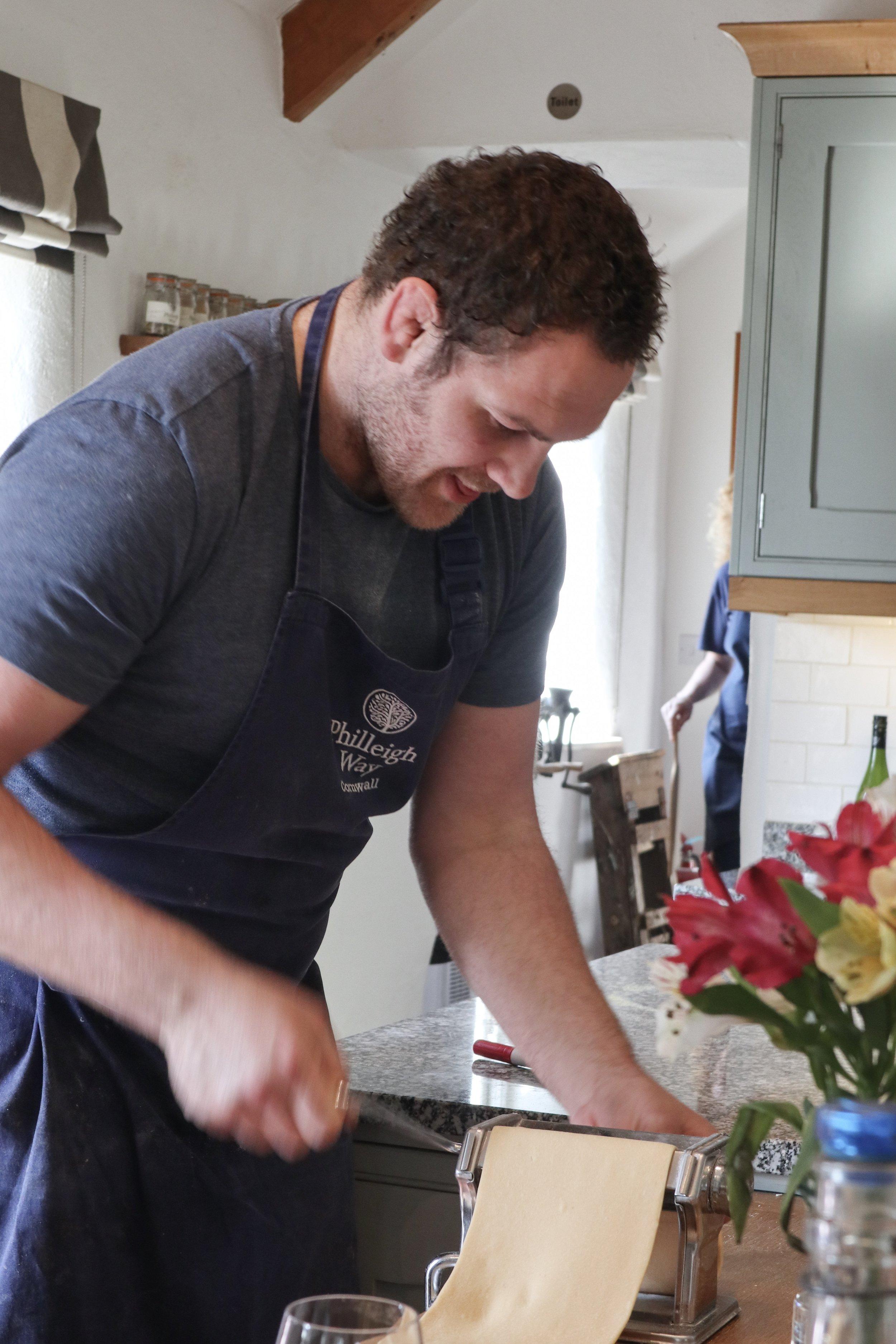 Rupert making pasta