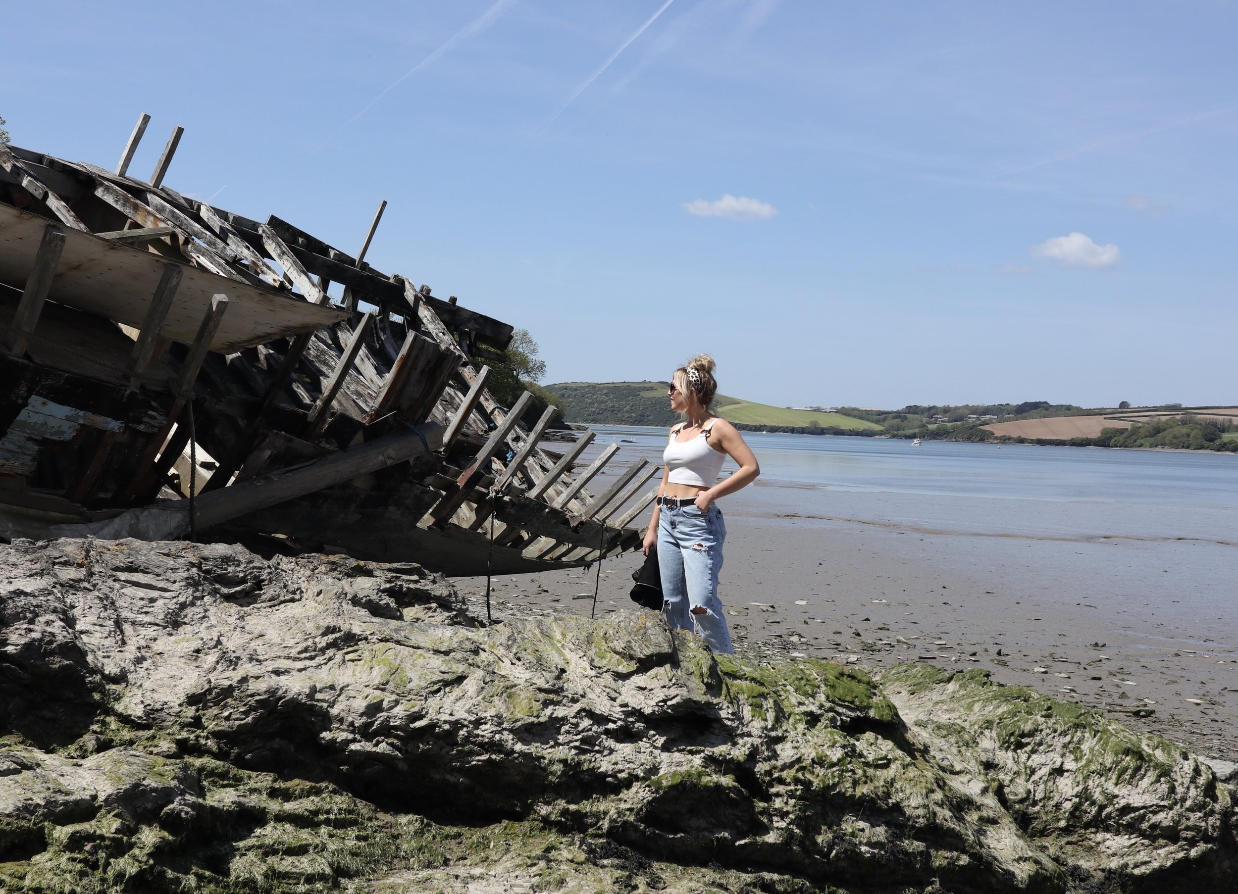 abandoned boat in Cornwall near the camel estuary