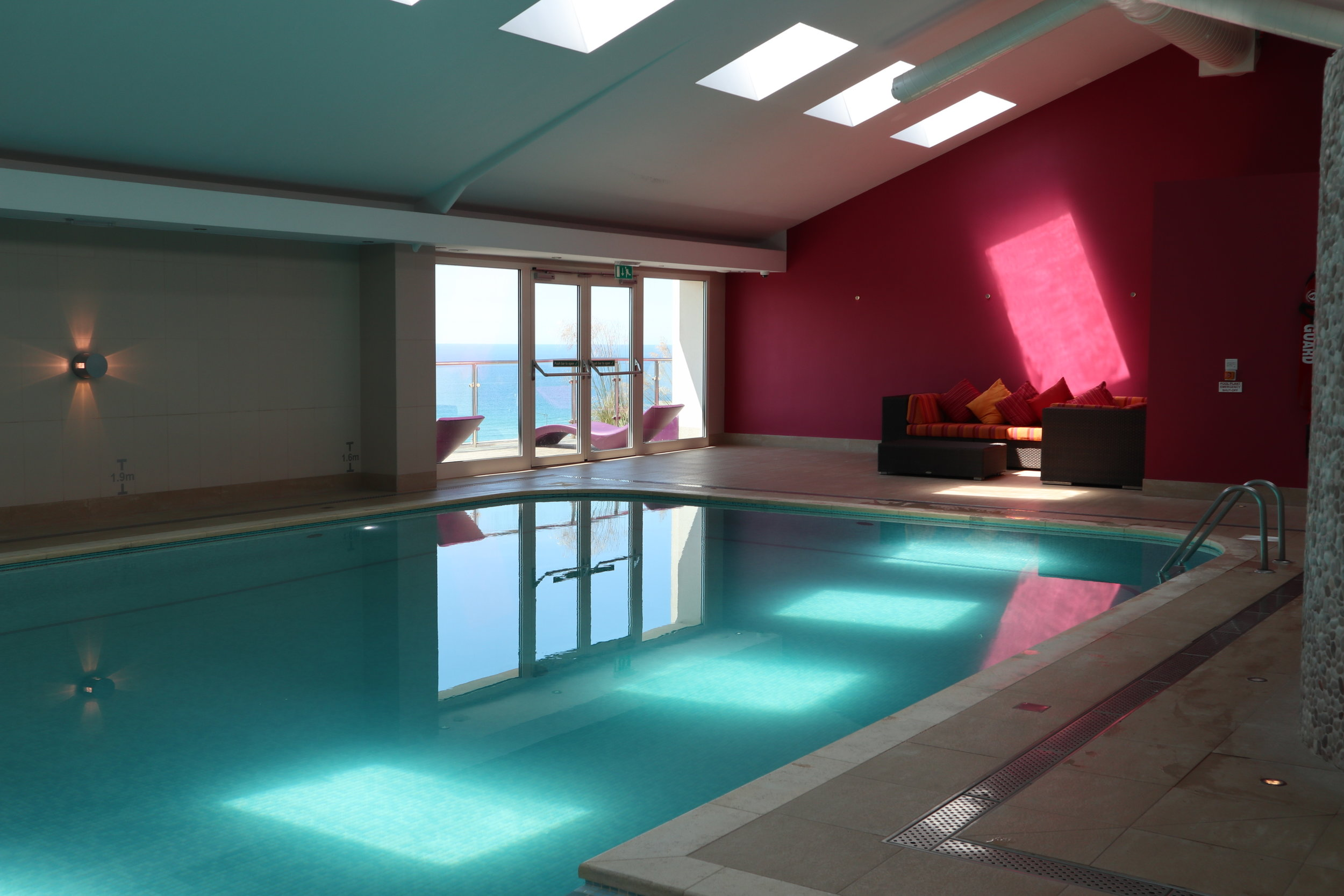 indoor swimming pool at bedruthan