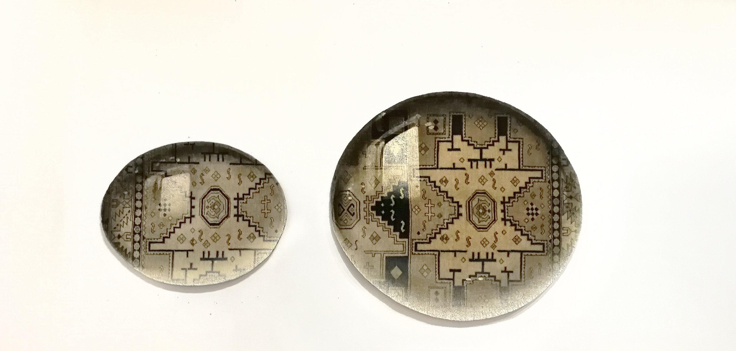 Two-Waterdrops_Tapestry-noemi-kiss-artwork-overpainted-and-cut-out-repurposed-oriental-rug-marion-friedmann-gallery.jpg
