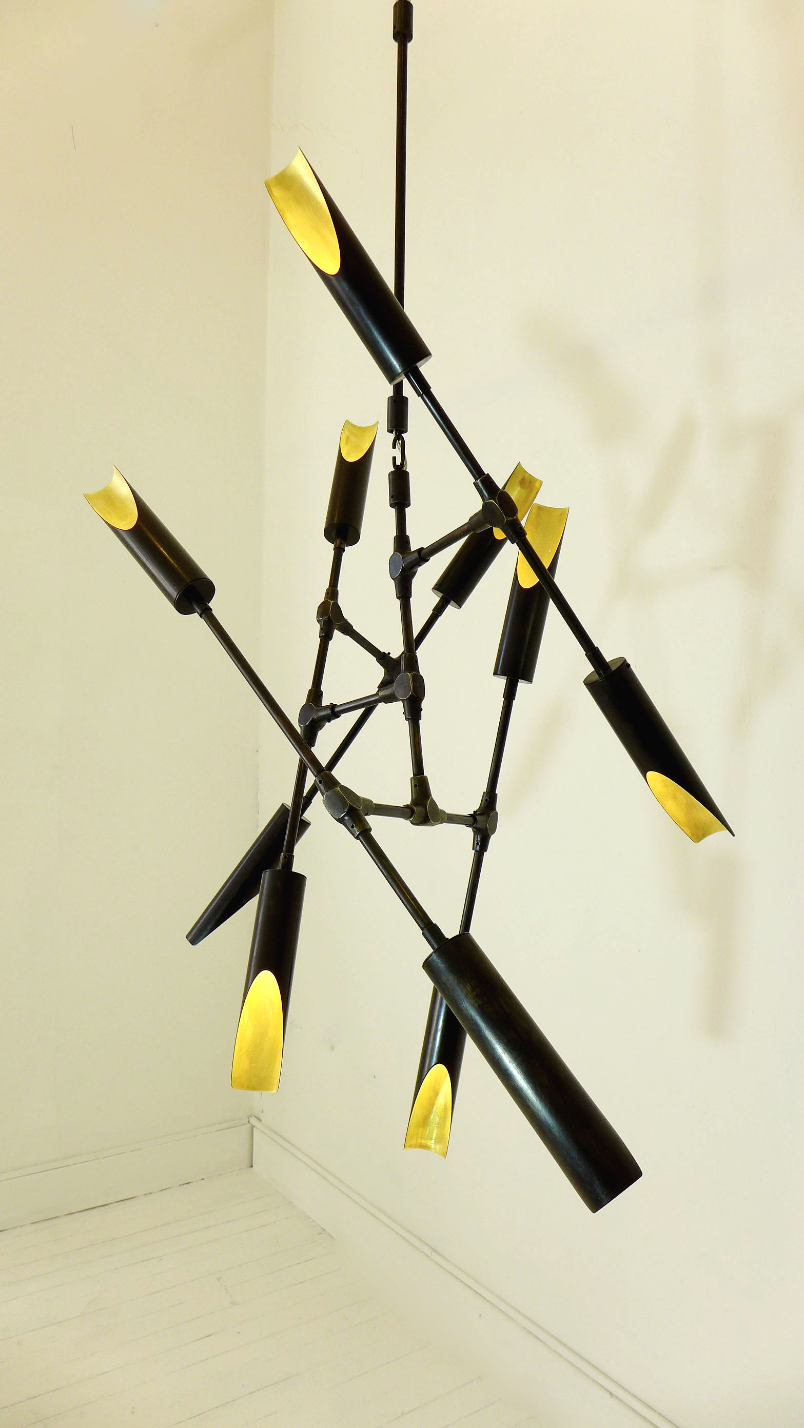 Tubular bronze and brass chandelier, 10 shades
