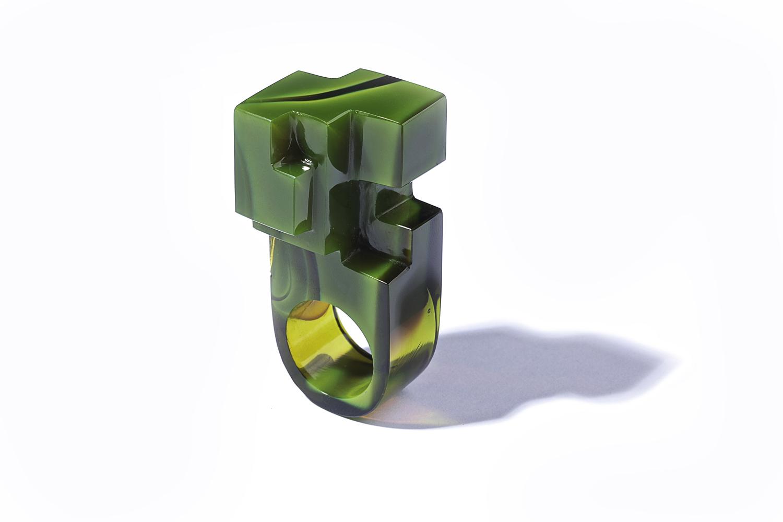 JORGE YÁZPIK - GREEN GLASS RING